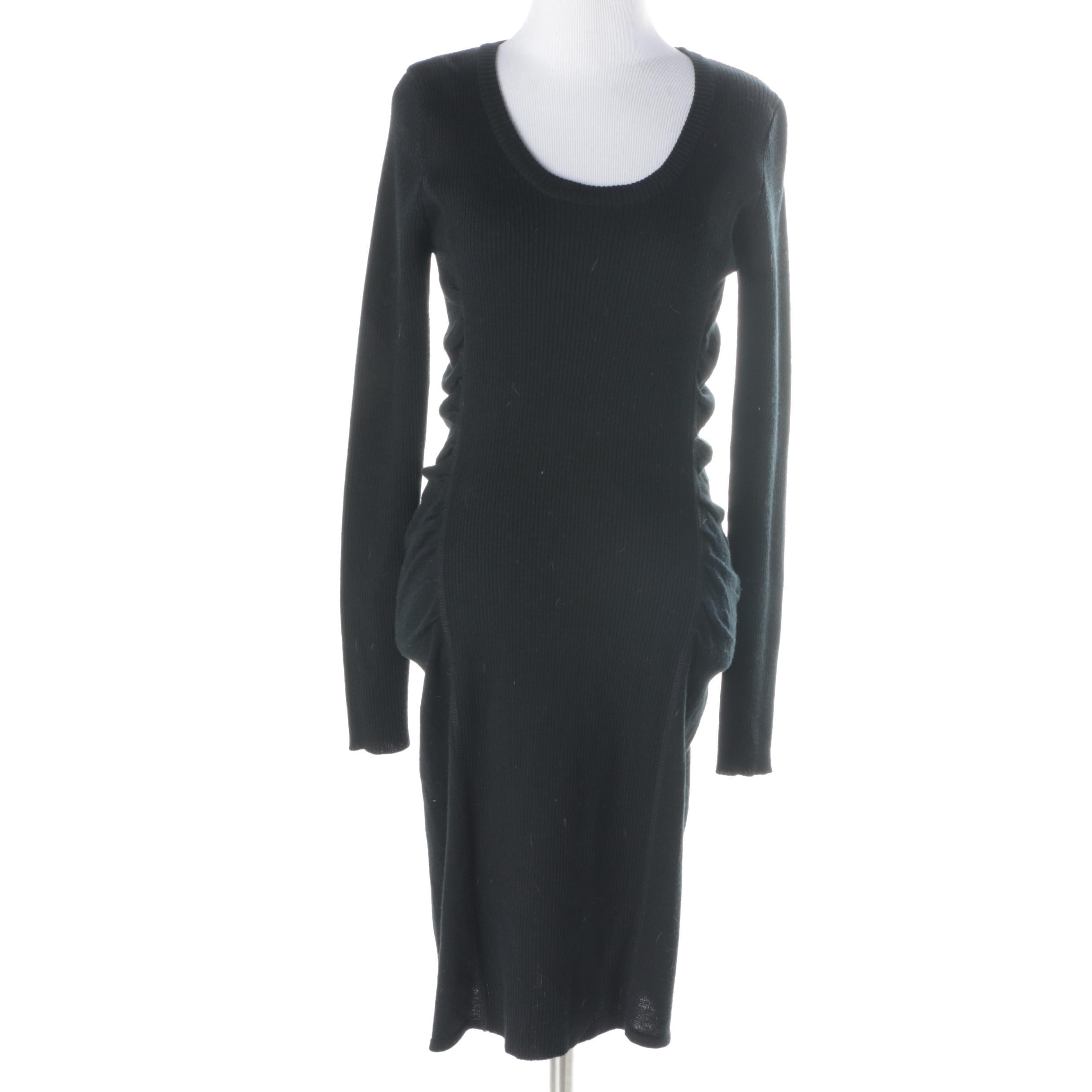 Calvin Klein Black Ribbed Cotton Dress