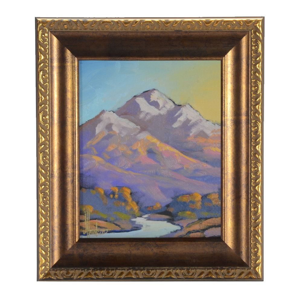 William Hawkins Oil Painting on Canvas Board of Landscape