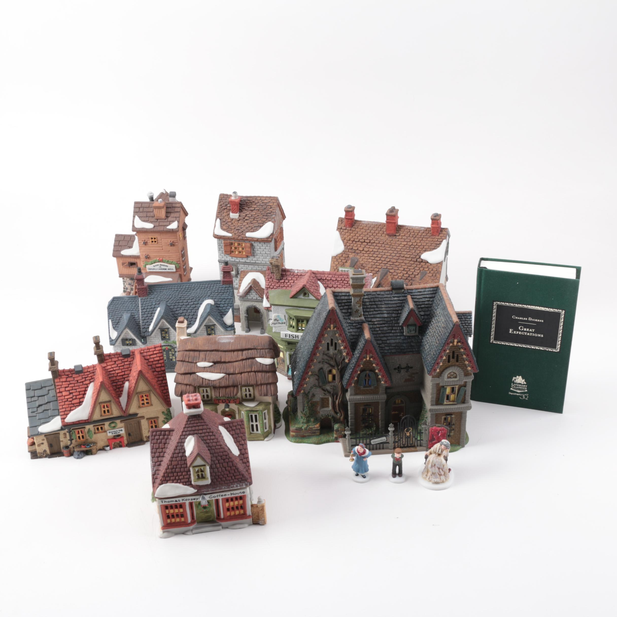 """Department 56 """"Dicken's Village Series"""" Buildings and """"Great Expectations"""" Book"""