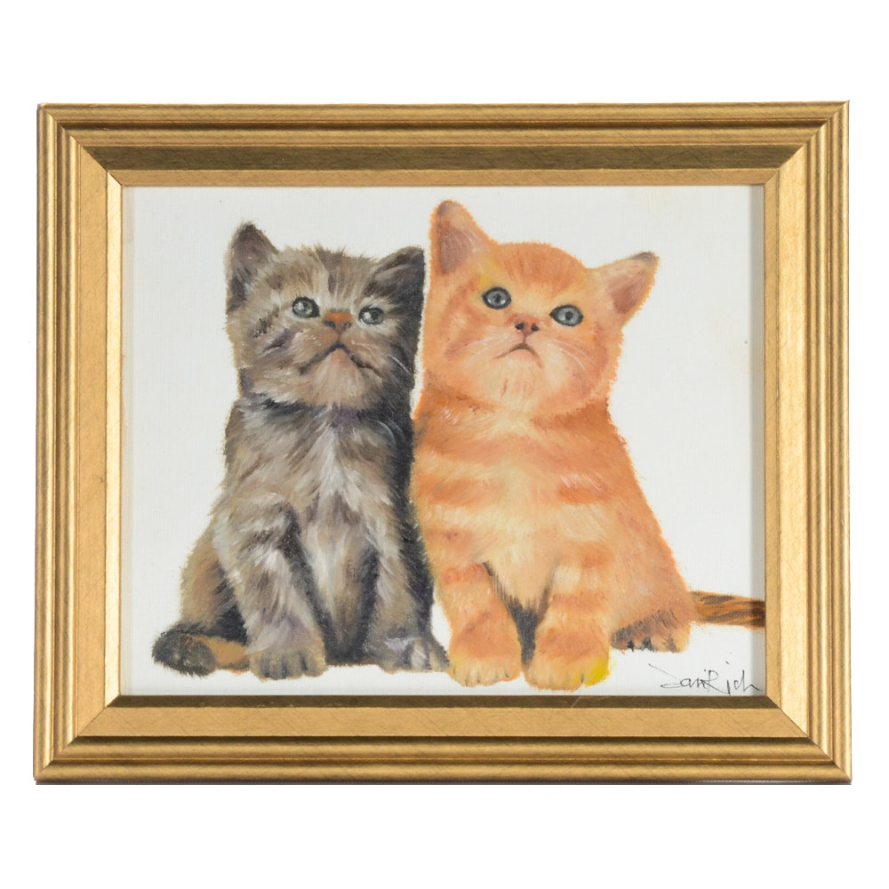 "Sani  Rich Oil Painting on Canvas ""Cute Cat"""