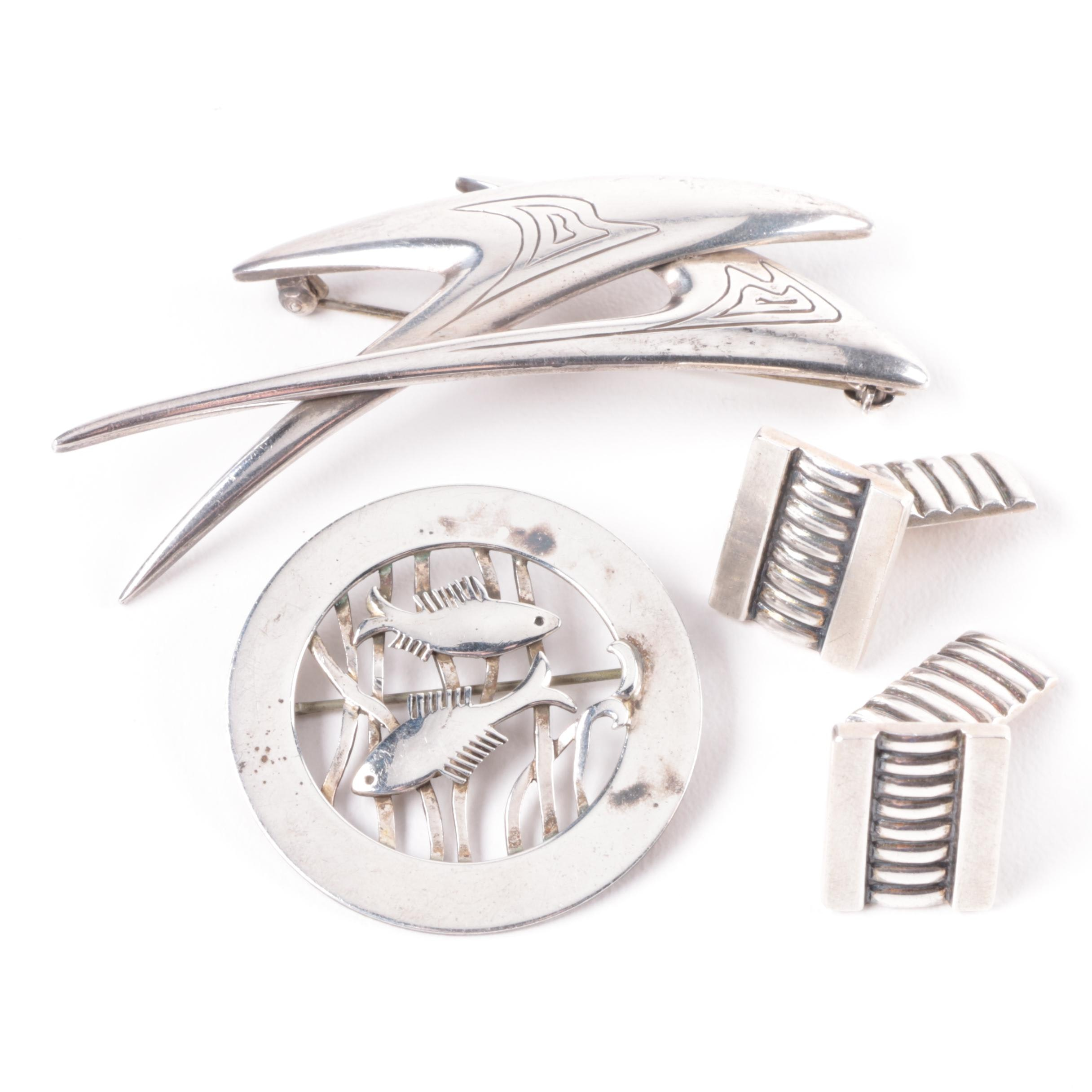 Denmark Made Sterling Silver Brooches and Cufflinks