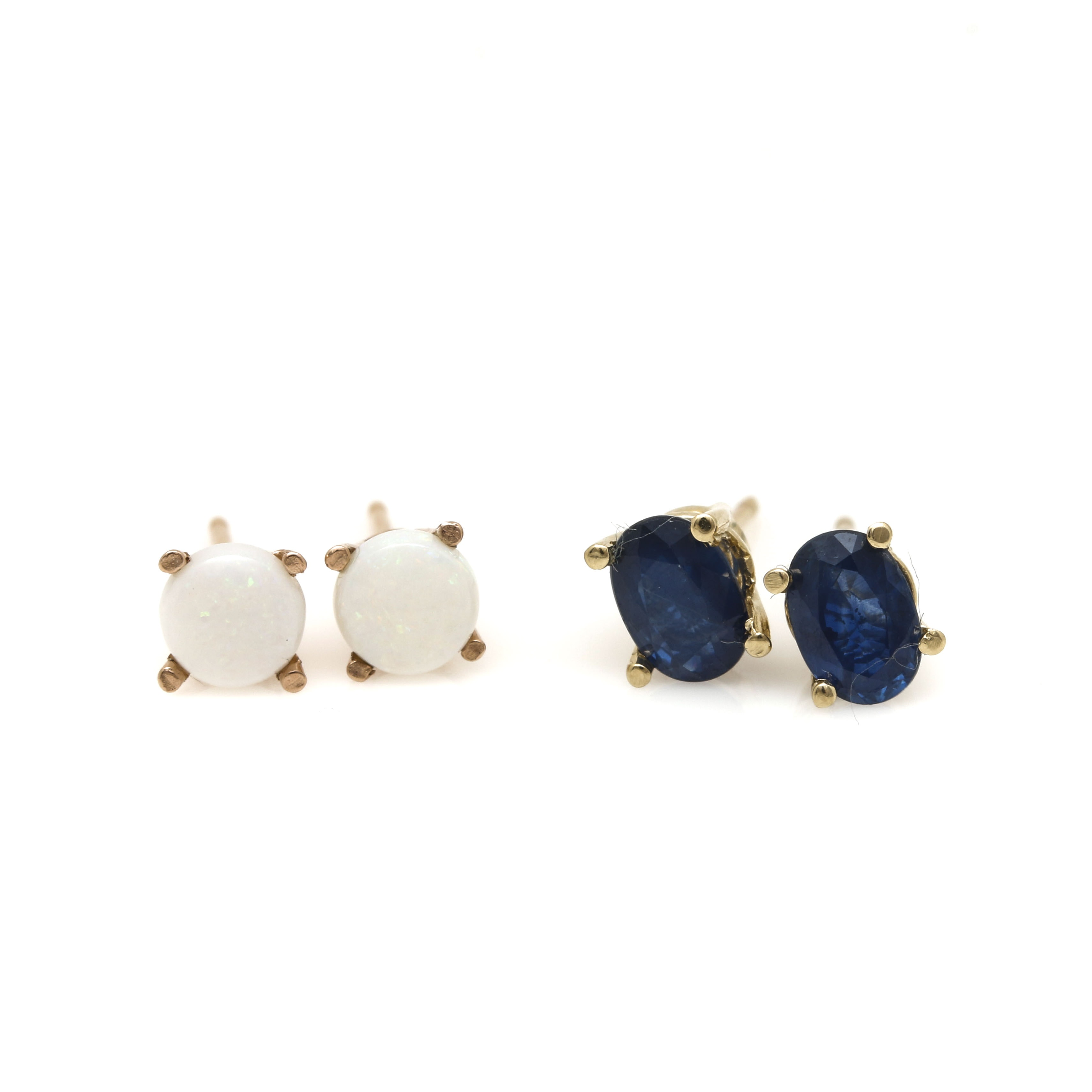 14K Yellow and Rose Gold Gemstone Stud Earrings