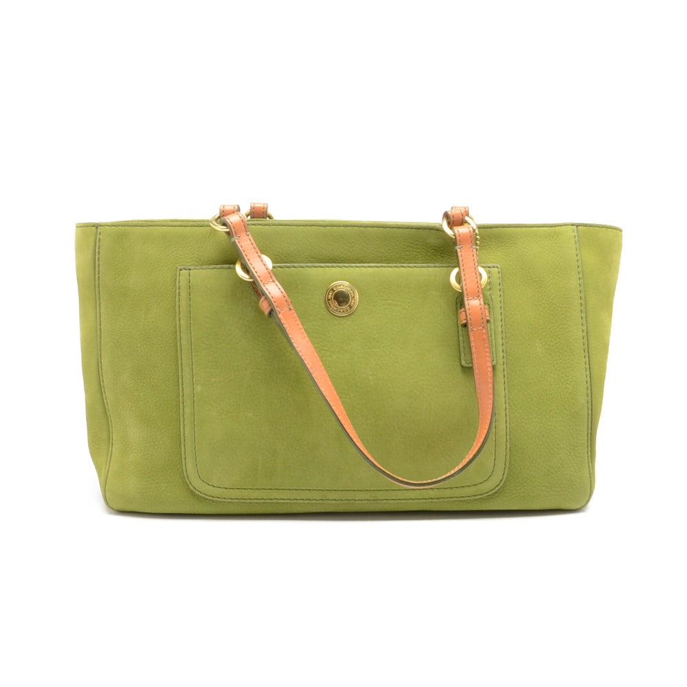 Coach Nubuck Lime Green Tote Handbag