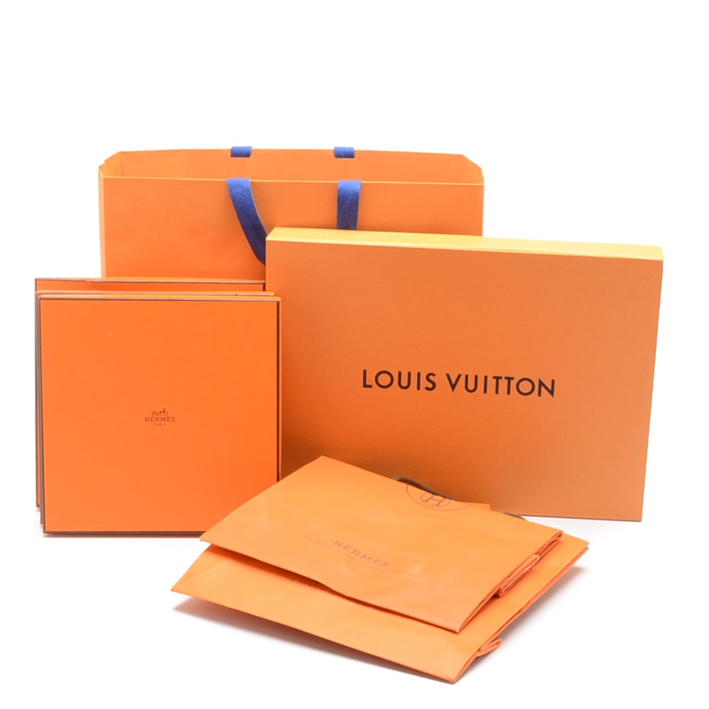 Louis Vuitton and Hermès Shopping Bags and Boxes