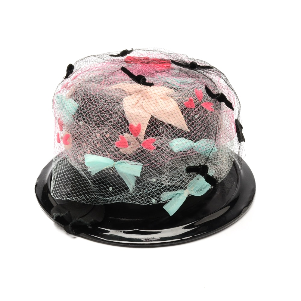 Women's Vintage Patent Leather Bowler Hat