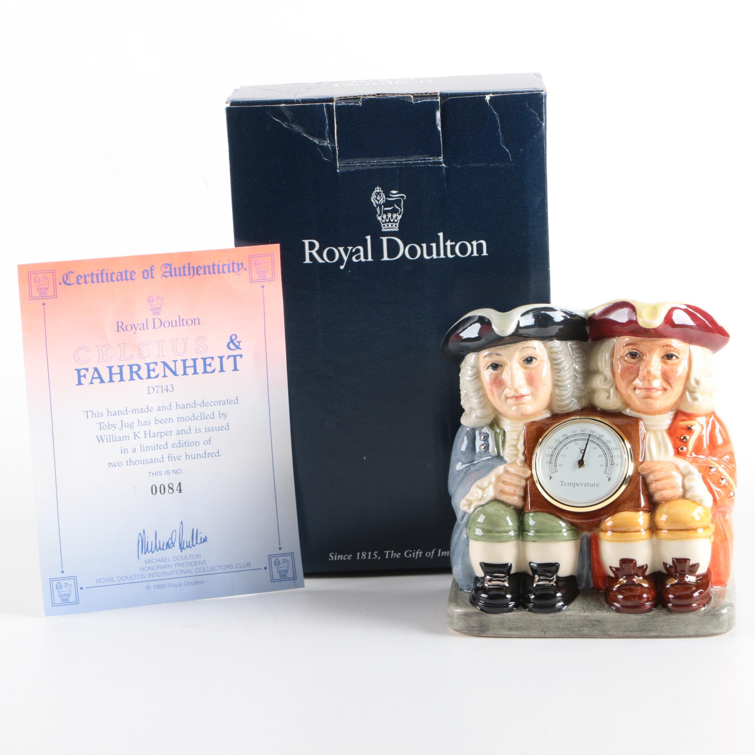 """Royal Doulton Limited Edition """"Celsius and Fahrenheit"""" Toby Jug With Thermometer"""