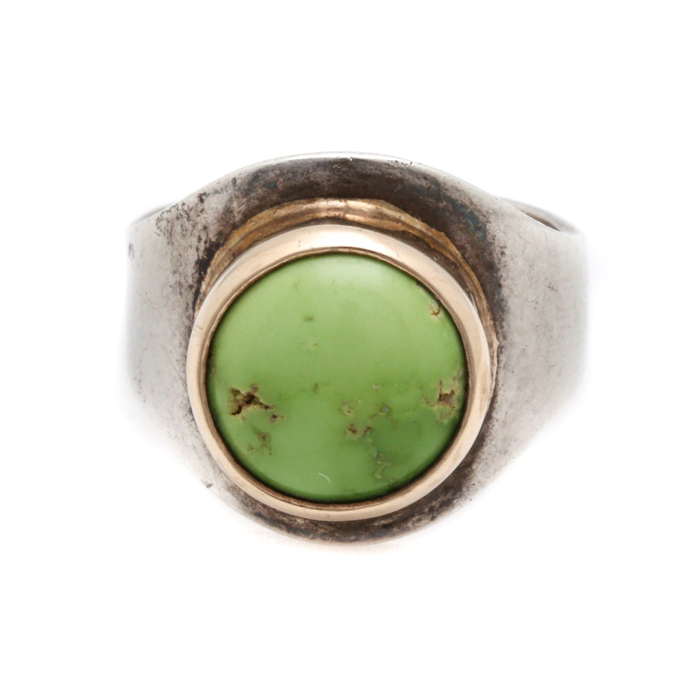Sterling Silver and 14K Yellow Gold Gaspeite Ring