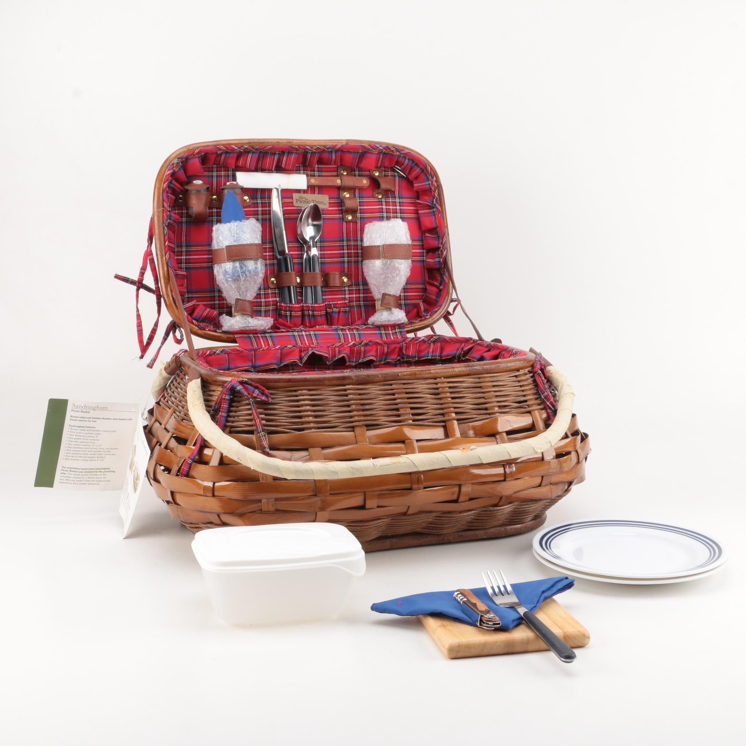 Picnic Basket with Picnic Supplies