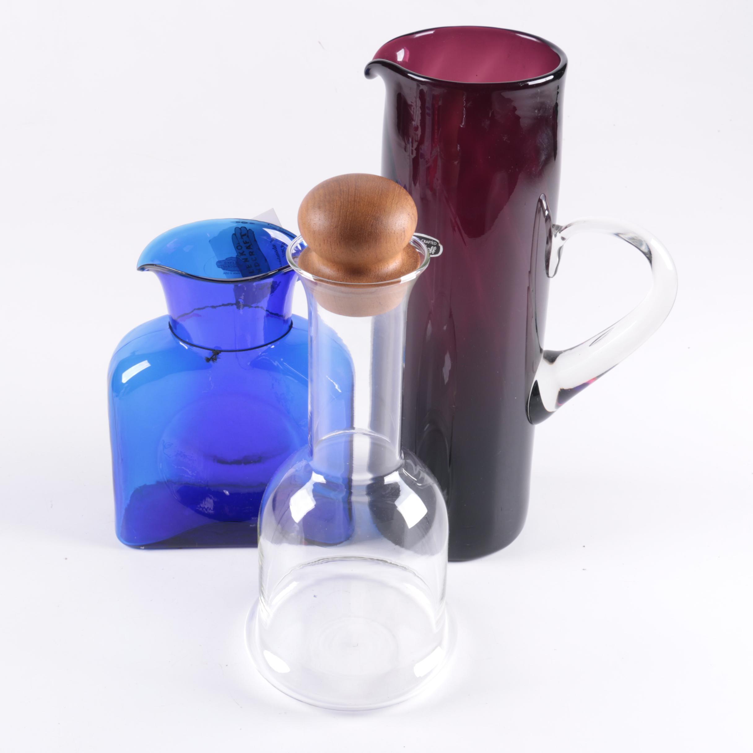 Glass Carafes Including Blenko, Bischoff and Dansk