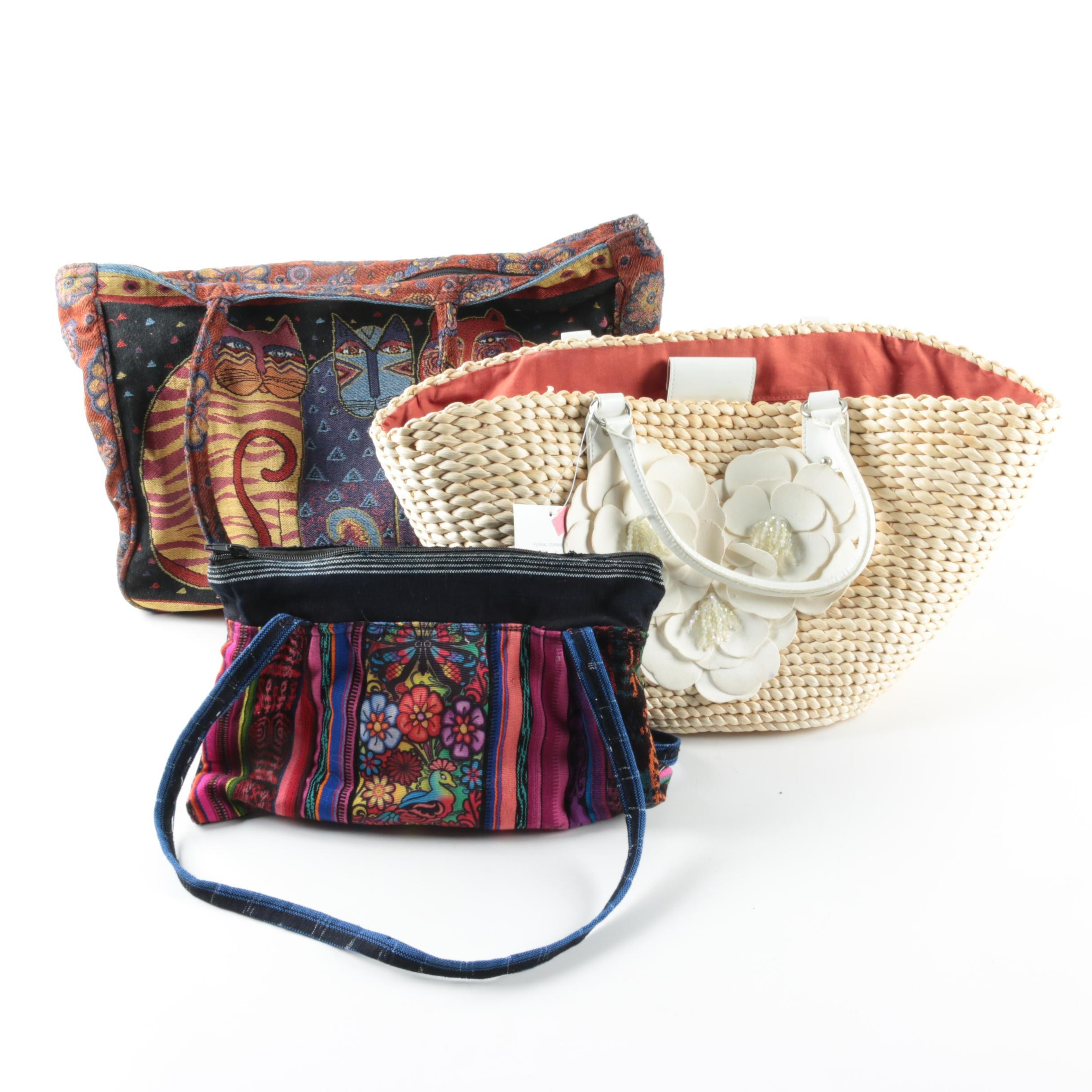Totes and Handbag Including Laurel Burch and Apostrophe