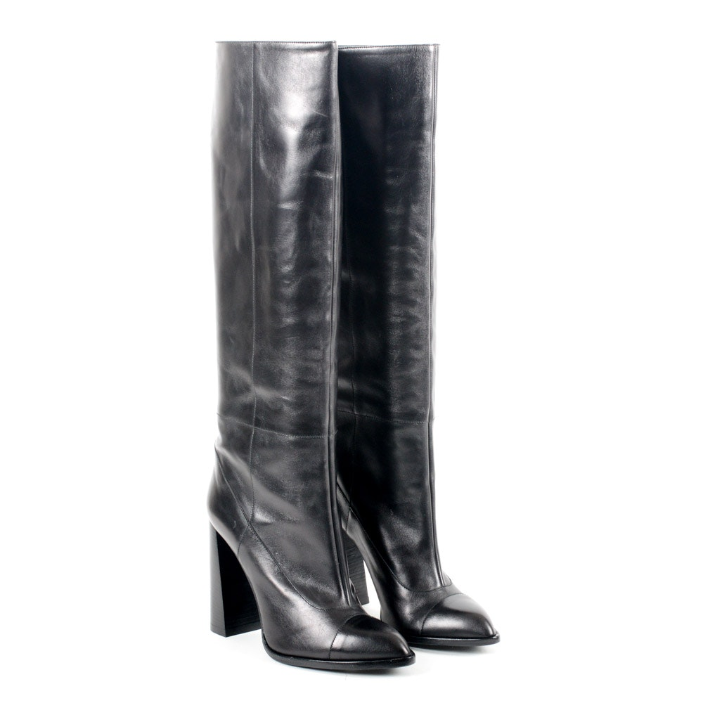 Calvin Klein Collection Heloise Black Leather Boots
