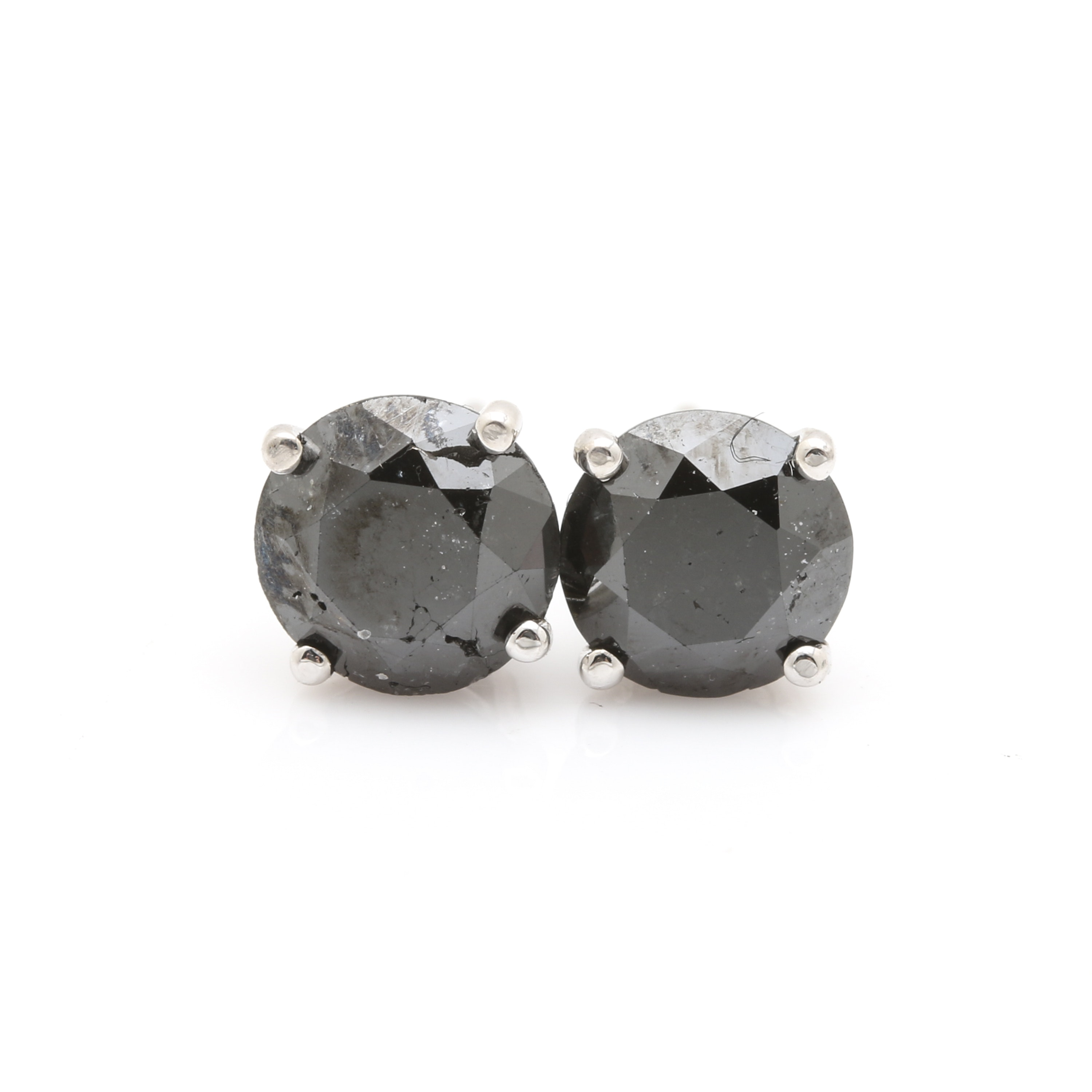14K White Gold 1.62 CTW Black Diamond Stud Earrings