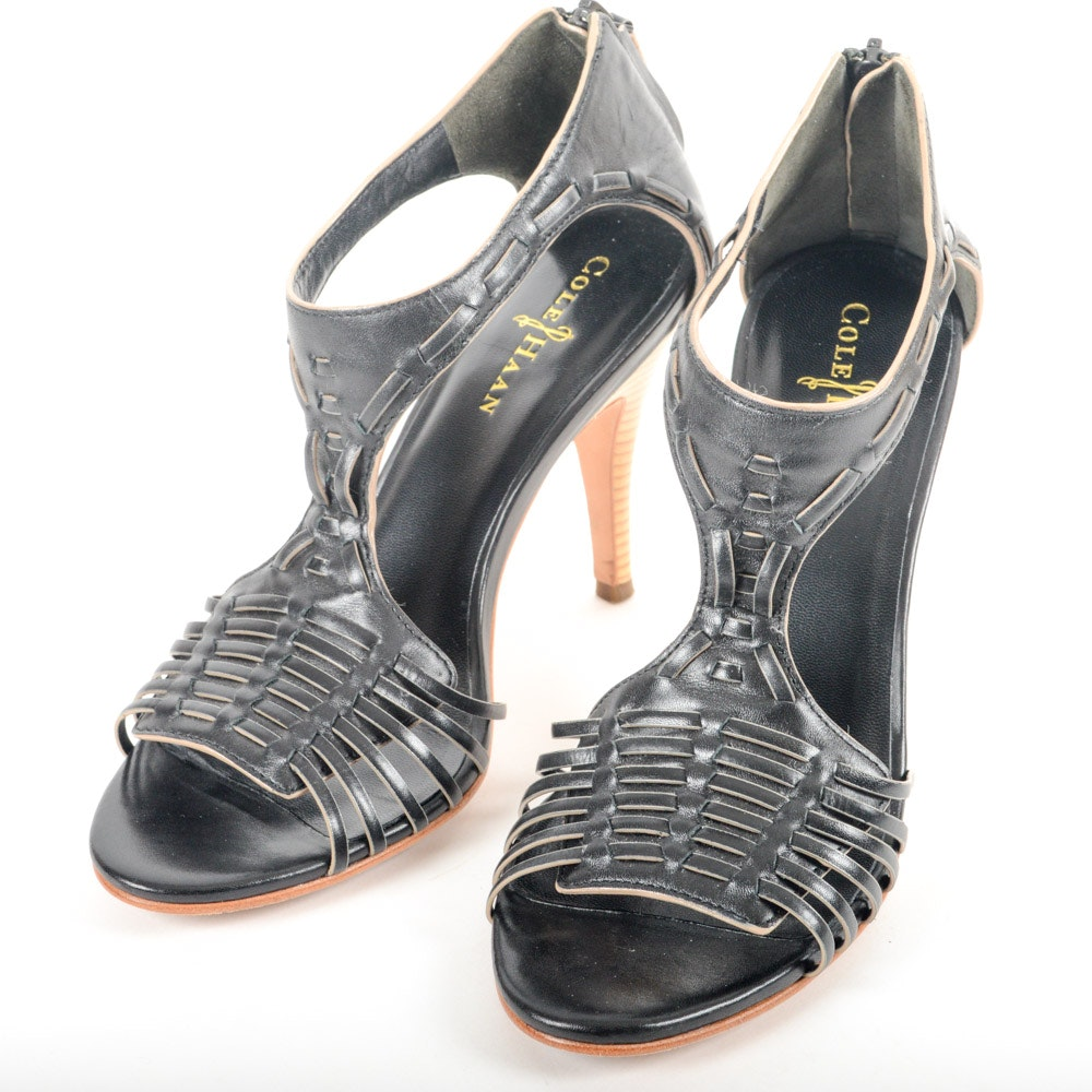 Cole Haan Black Leather Valencia Air Heeled Sandals