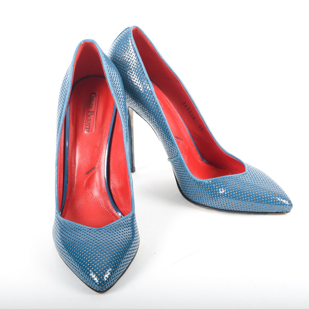 Cesare Paciotti Perforated Blue Leather Stiletto Pumps