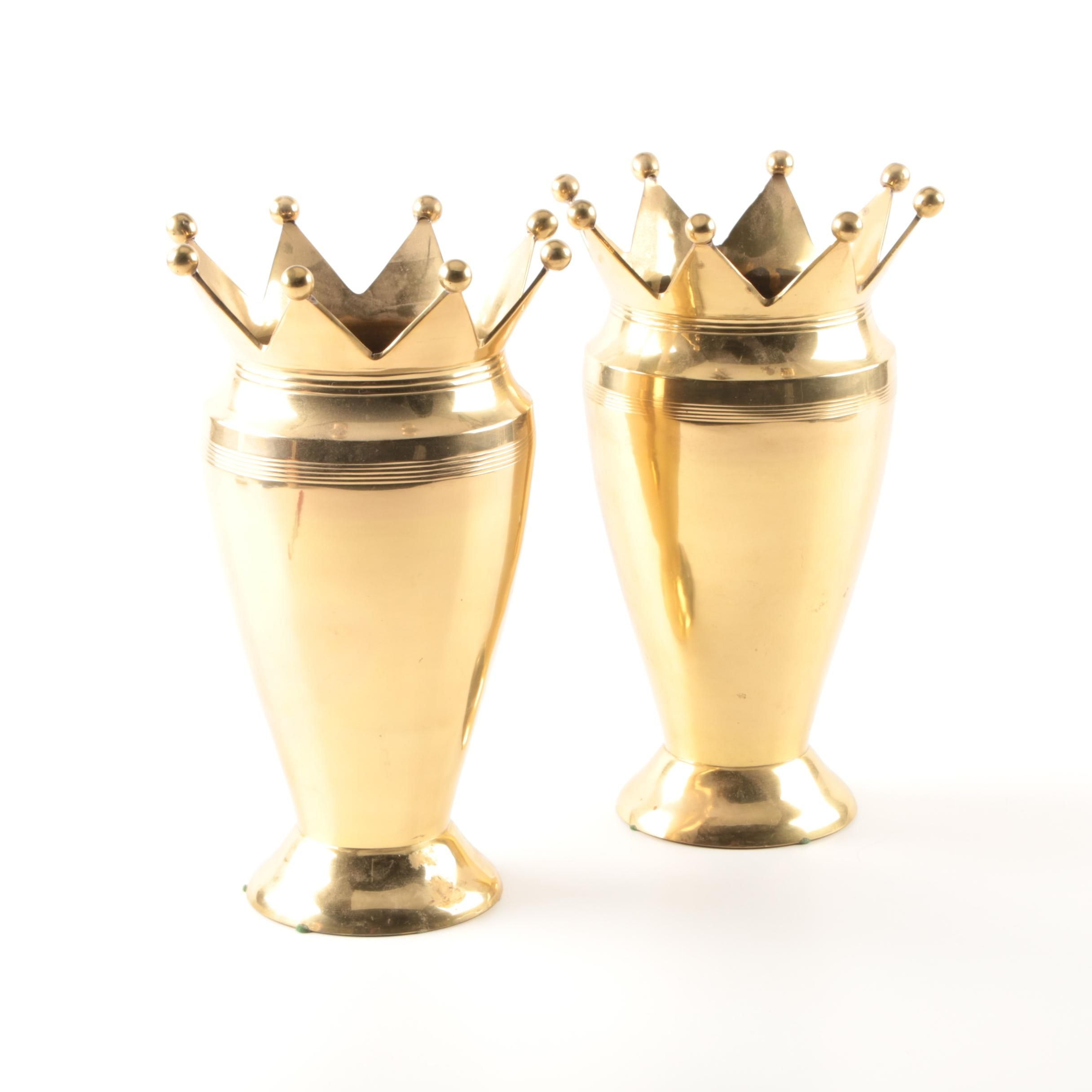 Pair of Brass Bombay Company Vases