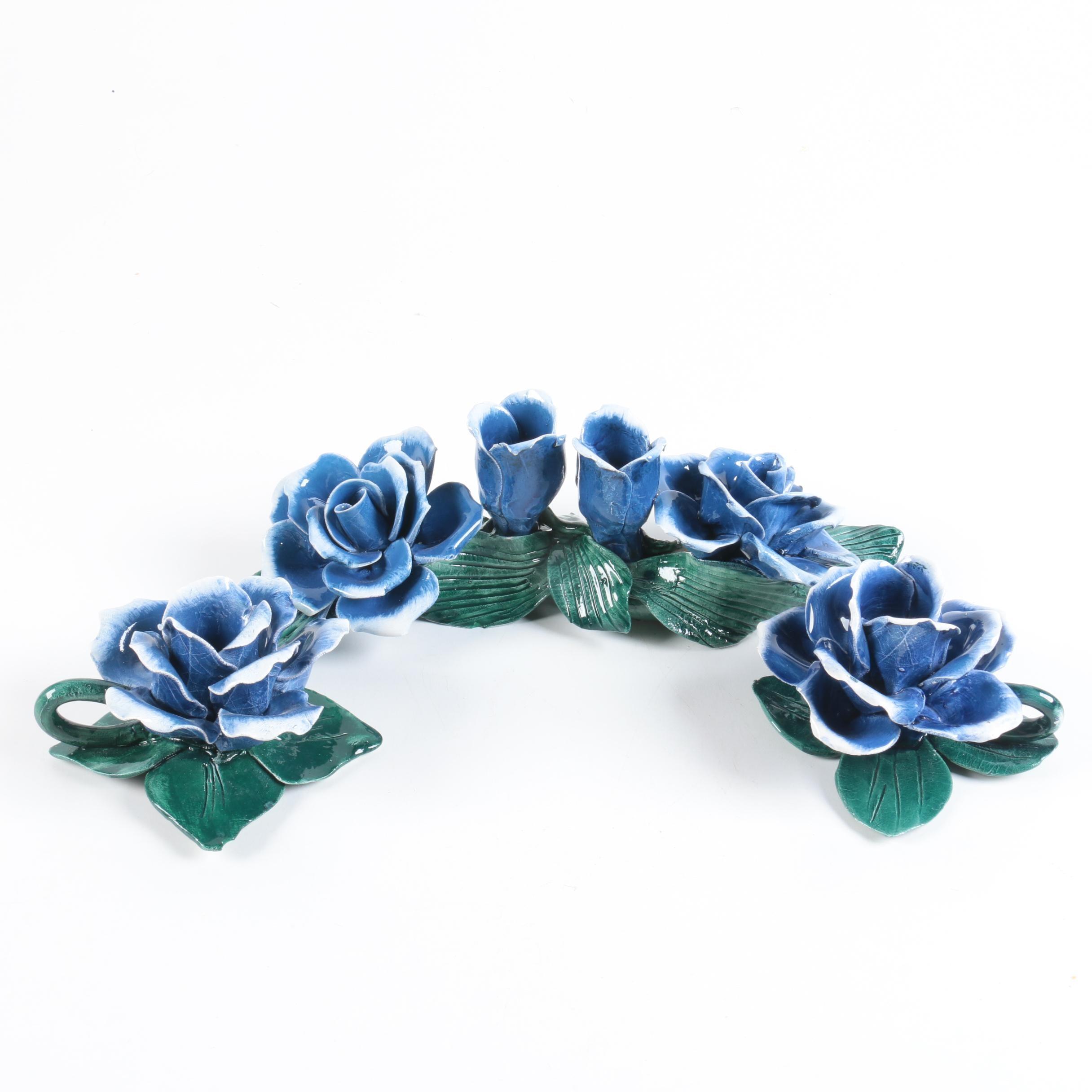 Italian Ceramic Rose Candle Holders