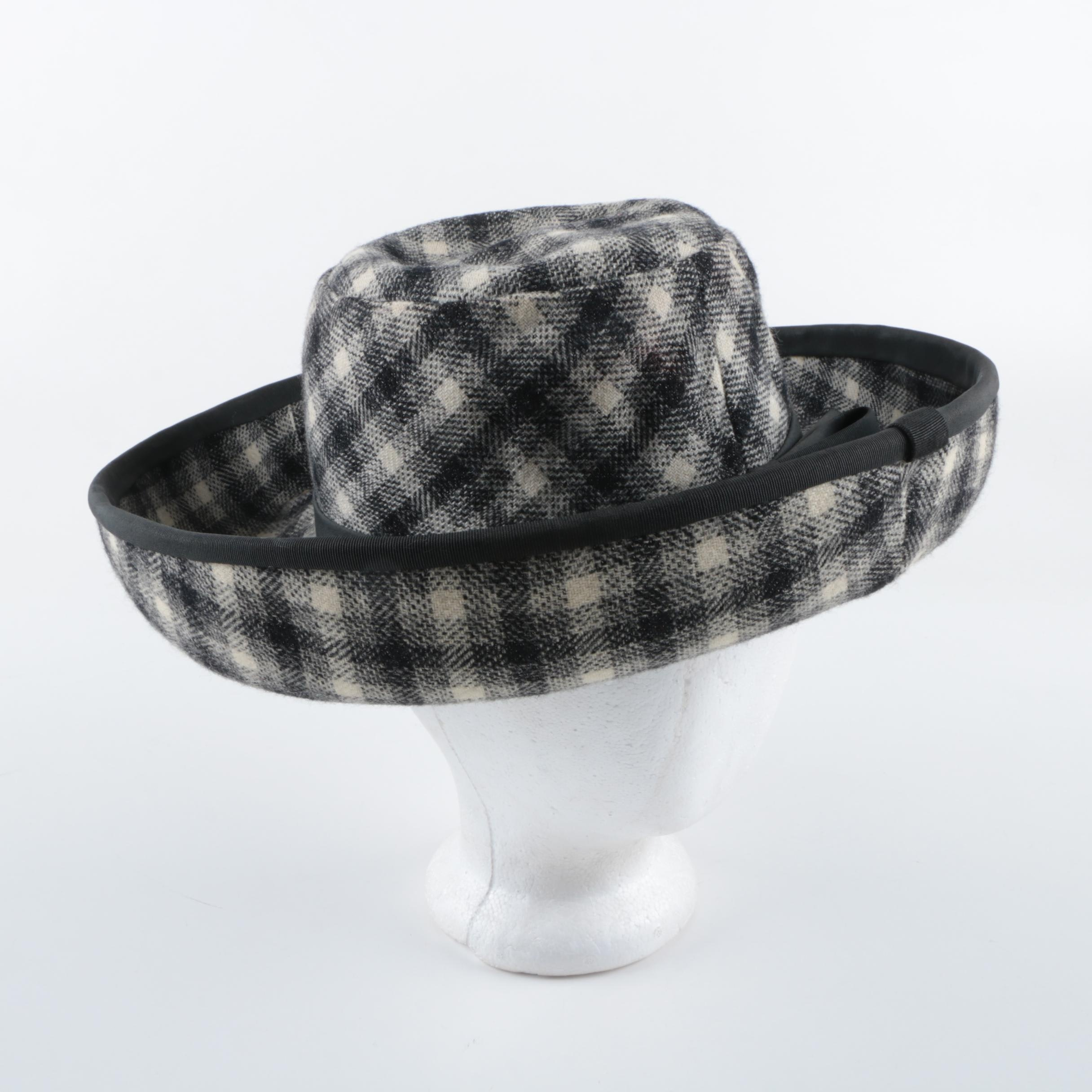 Women's Vintage Cardinali Wool-Blend Plaid Hat with Grosgrain Trim and Bow