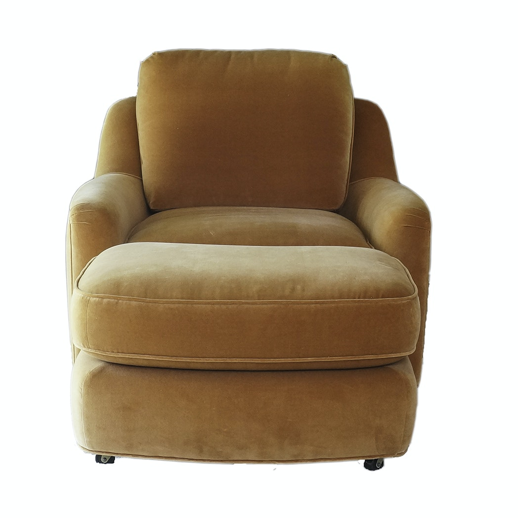 Vintage Mid Century Modern Upholstered Armchair with Ottoman