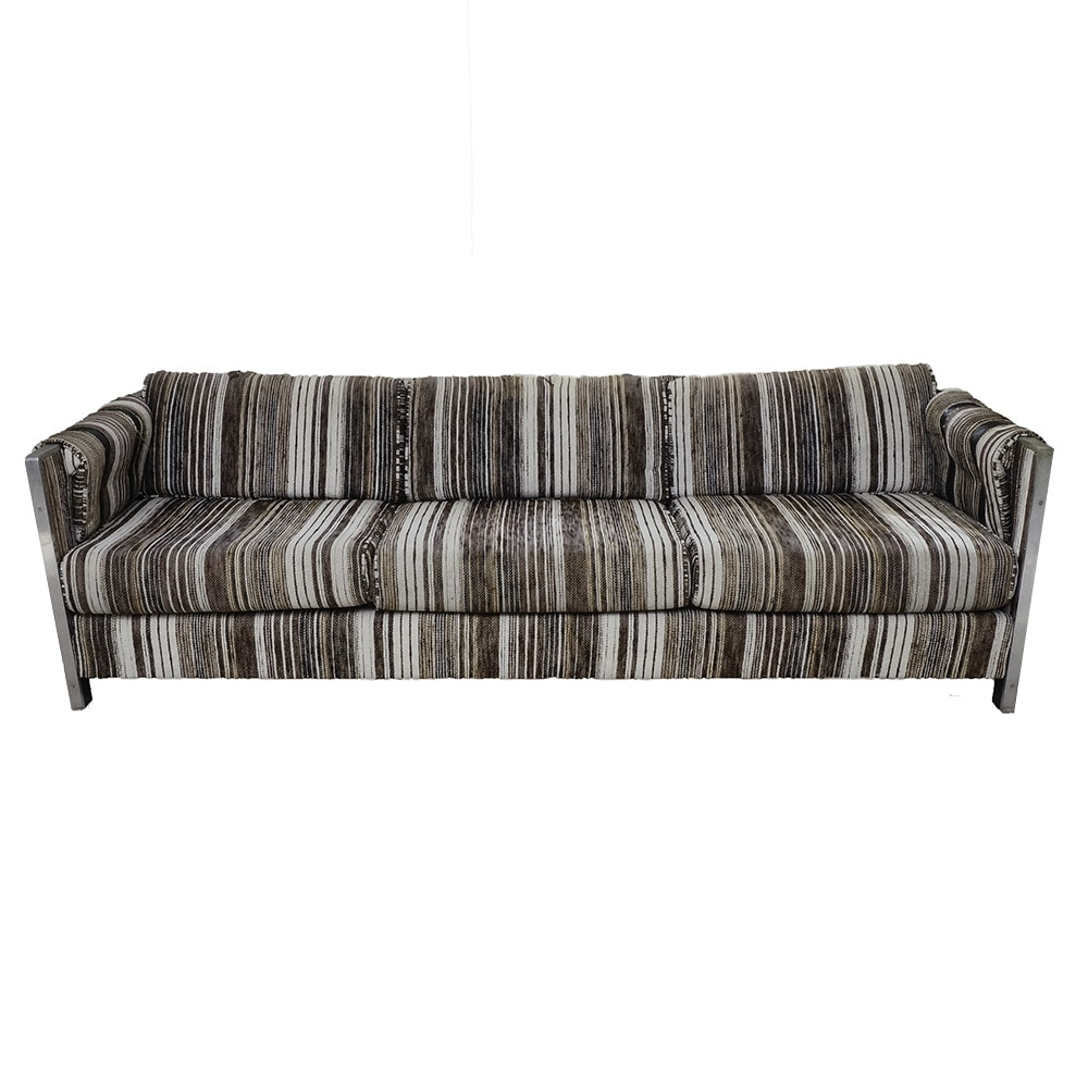Mid Century Modern Striped Couch with Metal and Leather Detailing