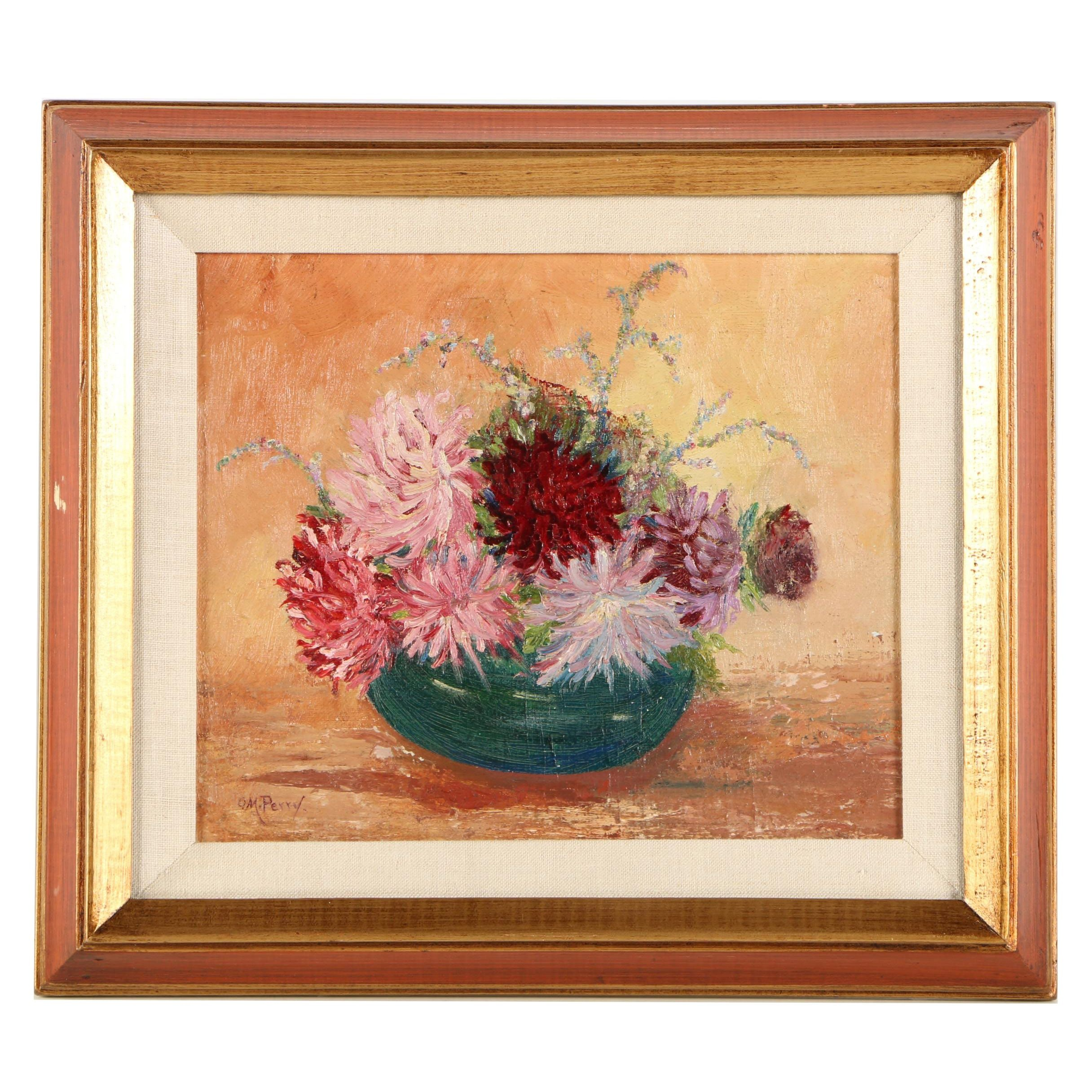 Ollie M. Perry Mid-Century Oil Painting of Still Life with Chrystanthemums