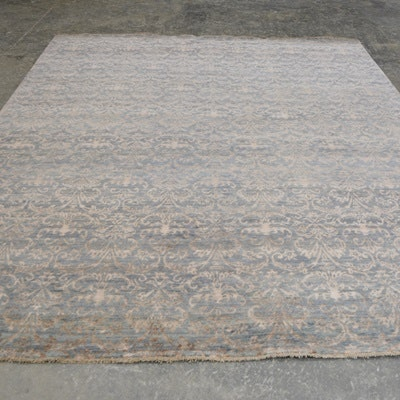 Hand-Knotted Indian Damask Wool and Viscose Area Rug
