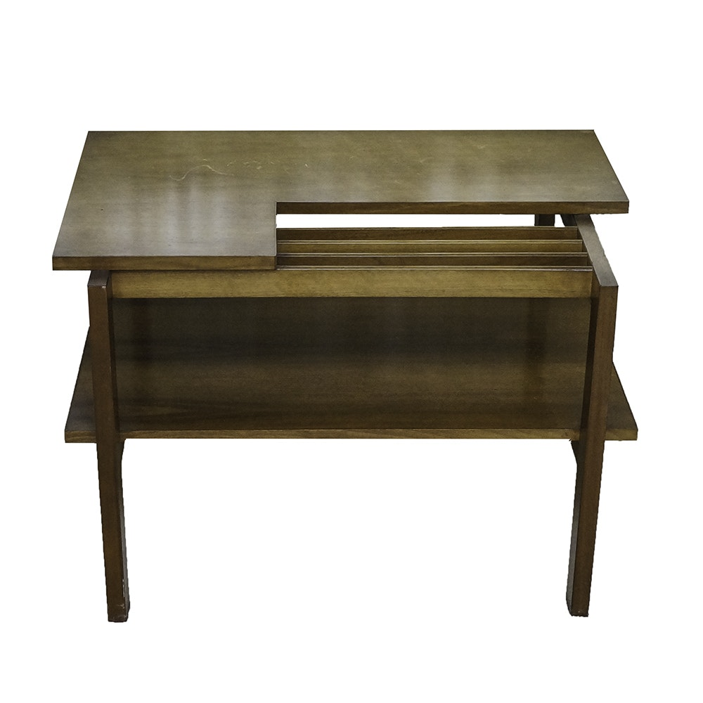 Mid Century Modern Wooden End Table with Magazine Rack Feature