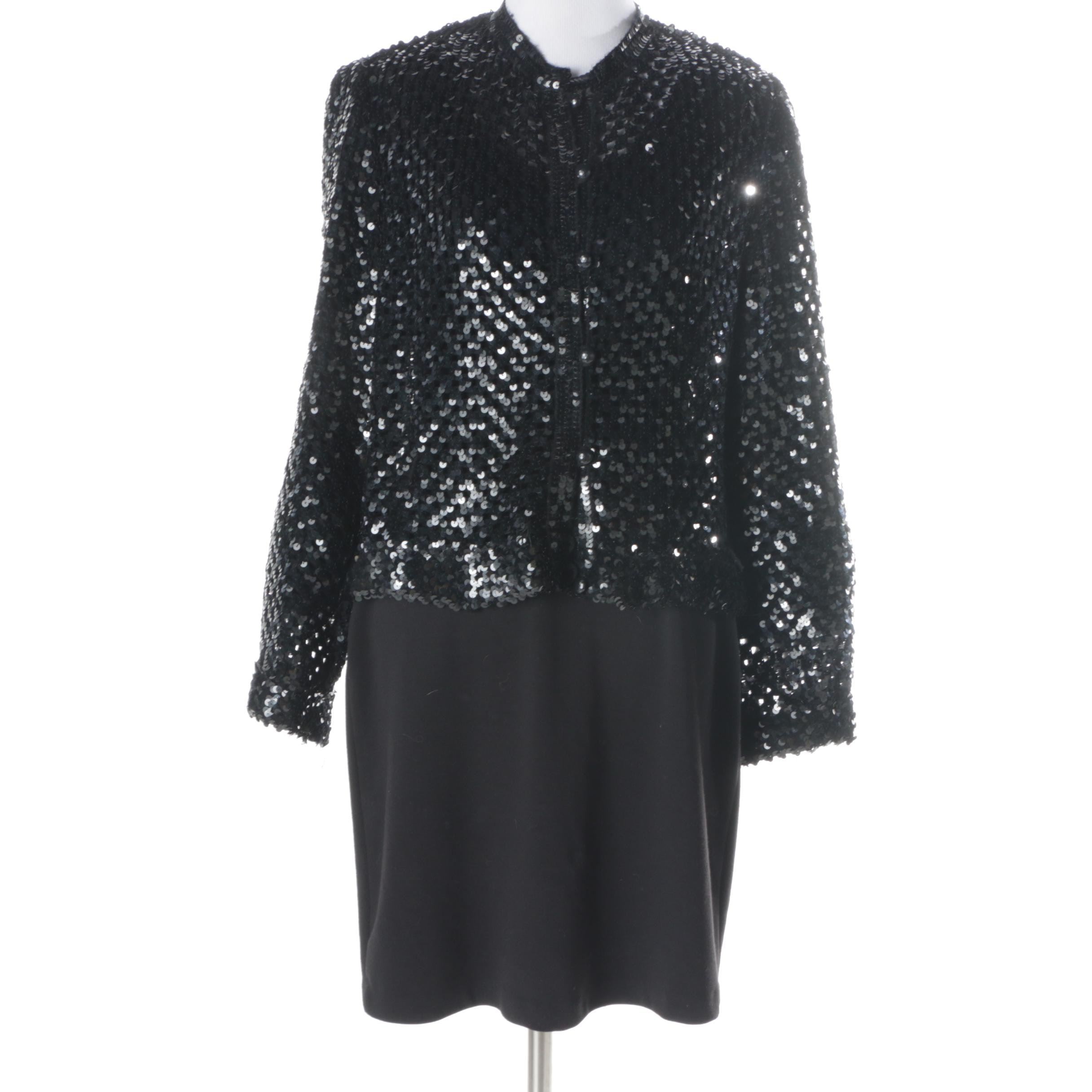 Calvin Klein Dress and Vintage Sequin Jacket
