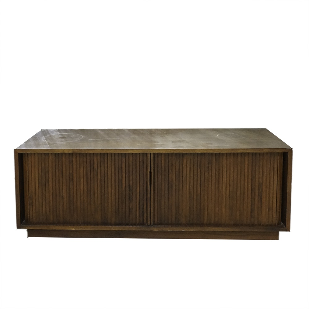 Mid Century Modern Record Cabinet with Tambour Doors