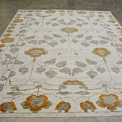 Hand-Knotted Arts and Crafts Design Wool Area Rug