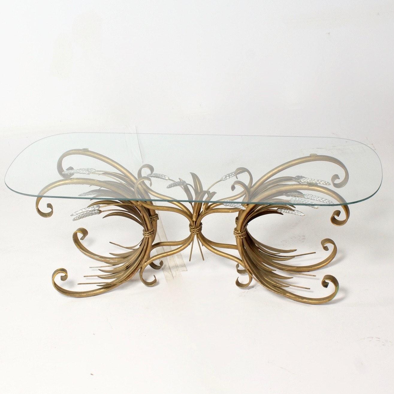 Vintage Hollywood Regency Glass Top Coffee Table