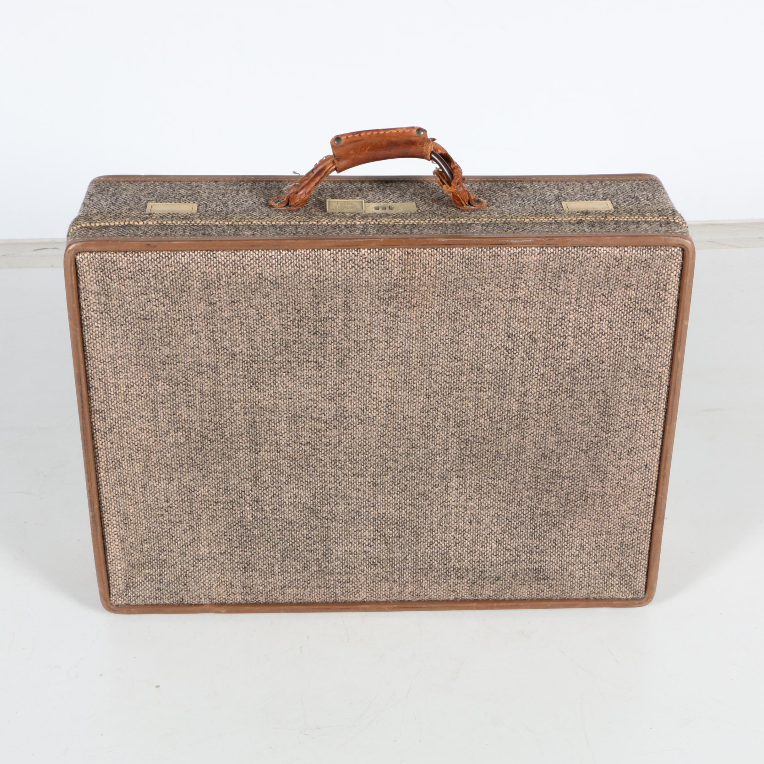 Vintage Hartmann Luggage Tweed and Leather Suitcase