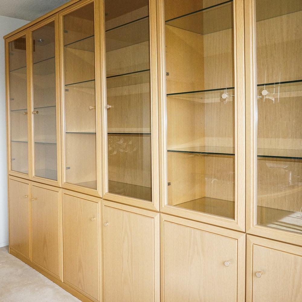 Modern Style Oak Wall Display Unit