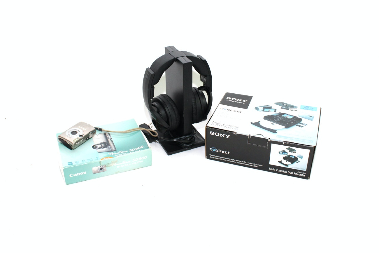 Sony Wireless Headphones, DVD Recorder and Canon PowerShot