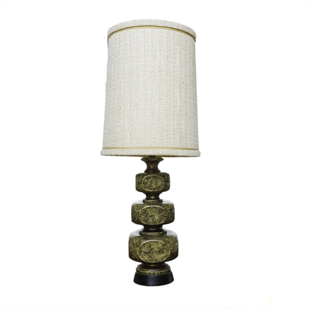 Mid Century Modern Olive Table Lamp with Cotton Linen Shade