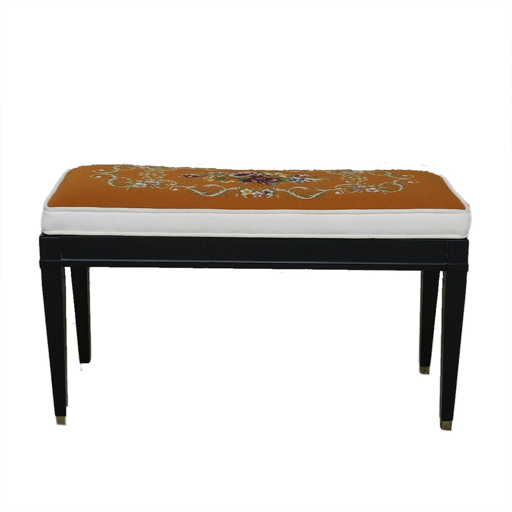 Piano Bench with Needlepoint Seat