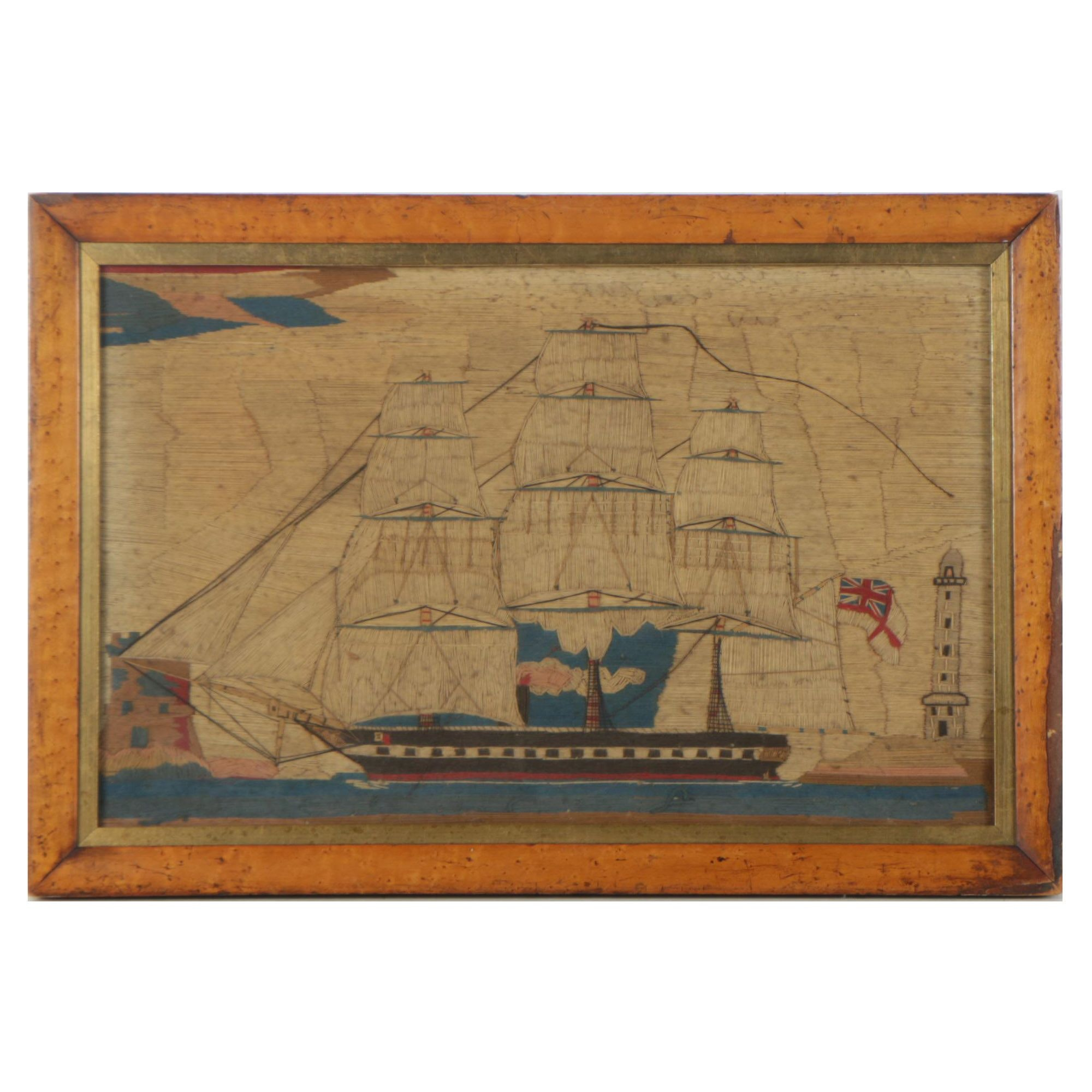 Victorian British Woolwork Picture of Ship of the Royal Navy at Sea
