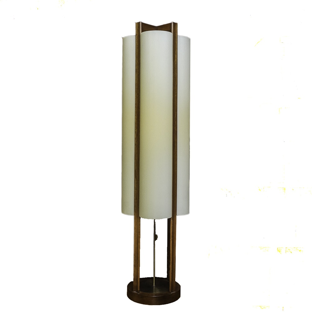 Mid Century Modern Wooden Lamp with Off White Shade