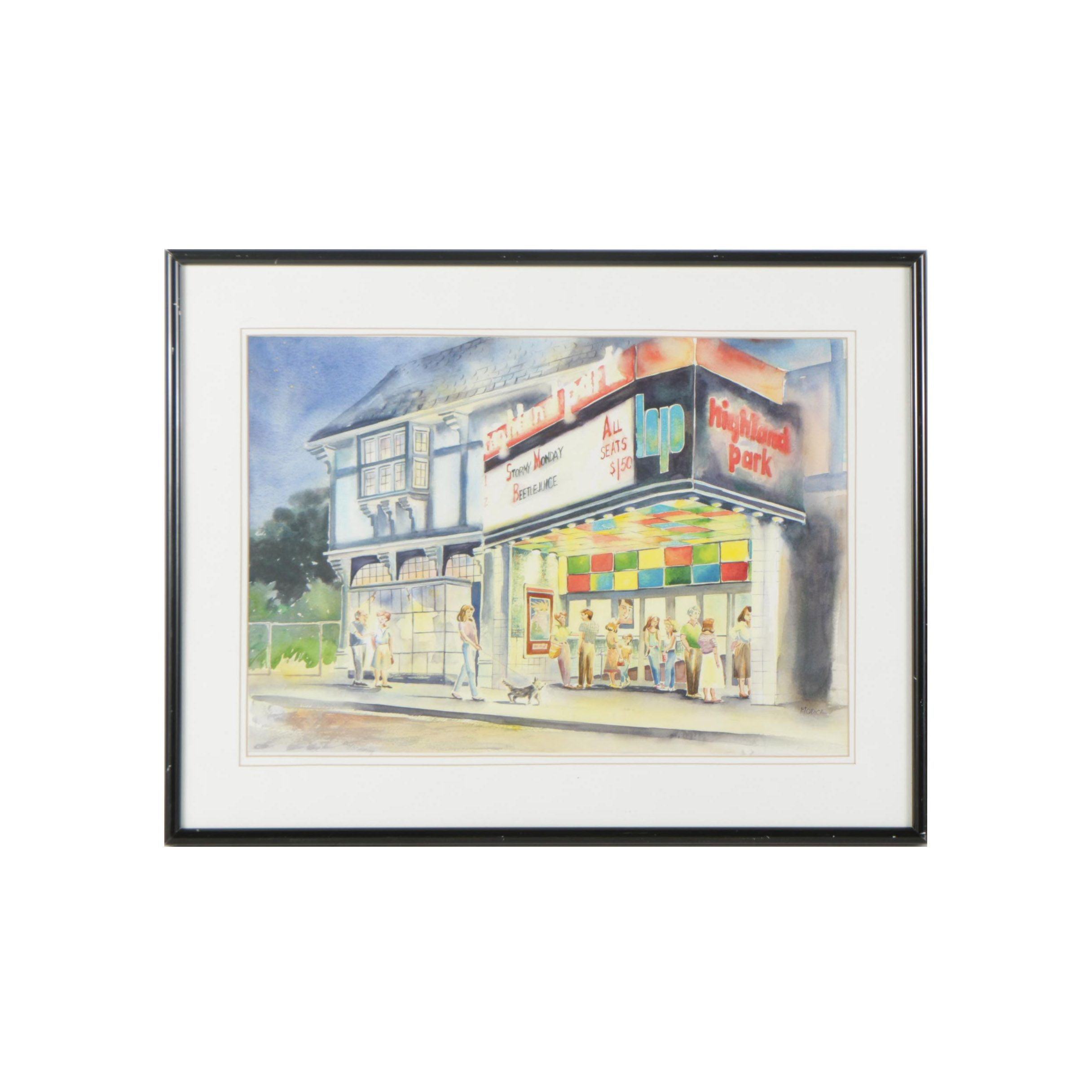 Modica Watercolor Painting of Highland Park Movie Theater