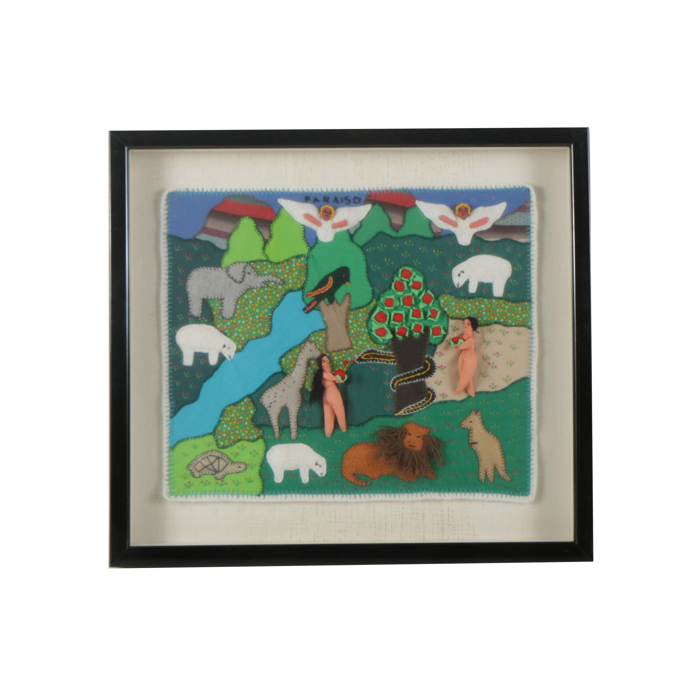 "South American Arpillera Tapestry ""Paraiso"""