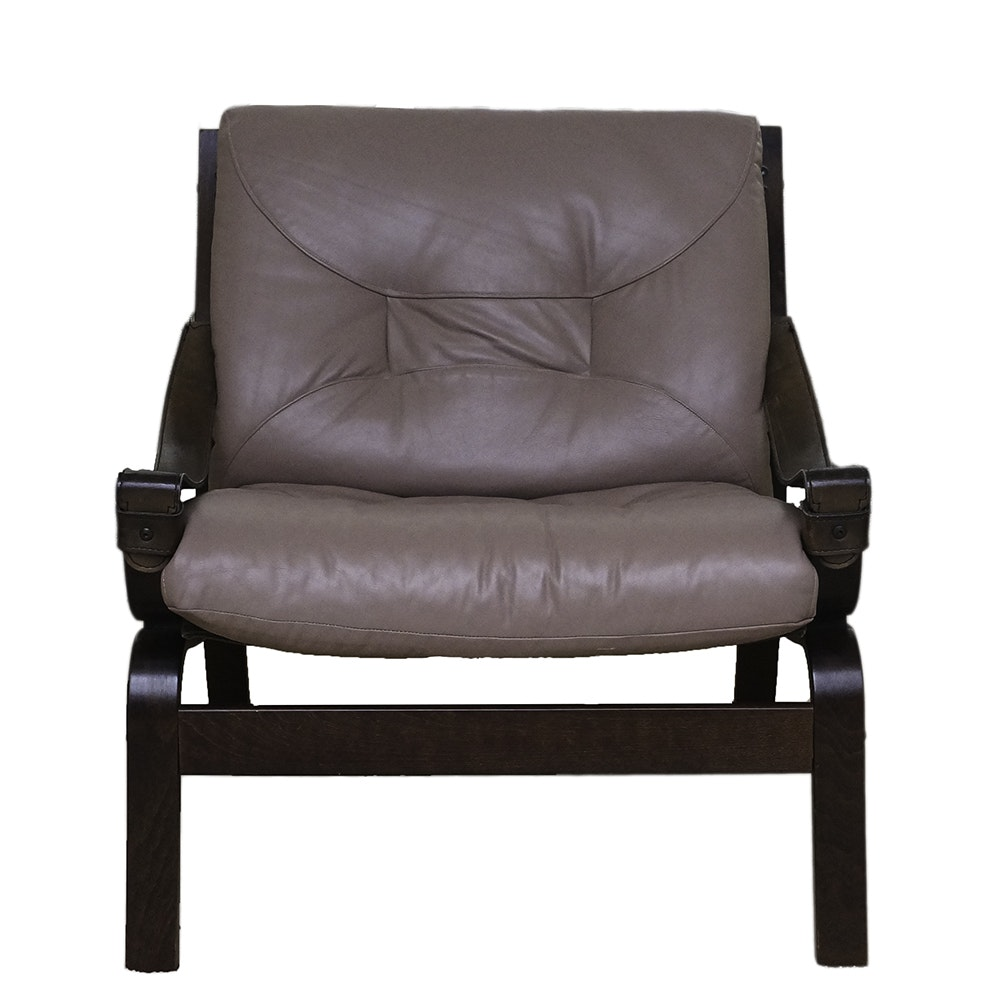 Danish Modern Style Brown Leather Armchair by Sorensen