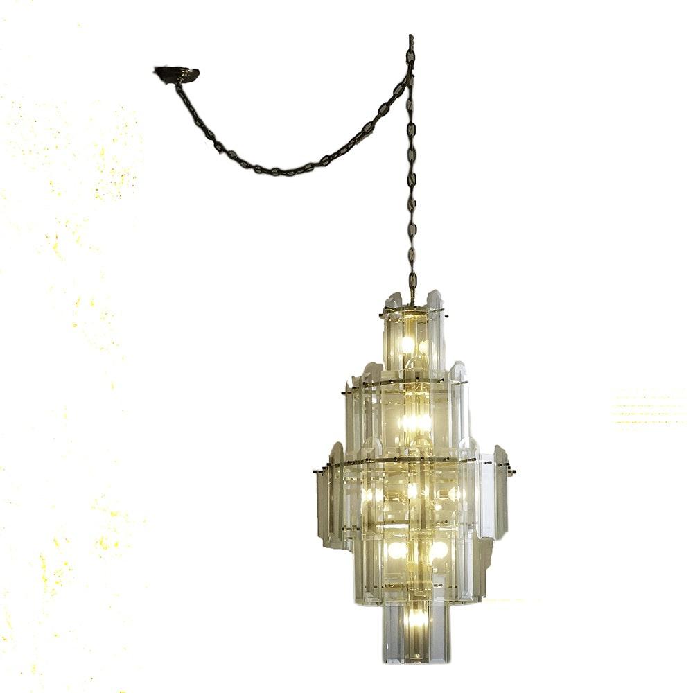 Mid Century Modern Glass and Brass Chandelier