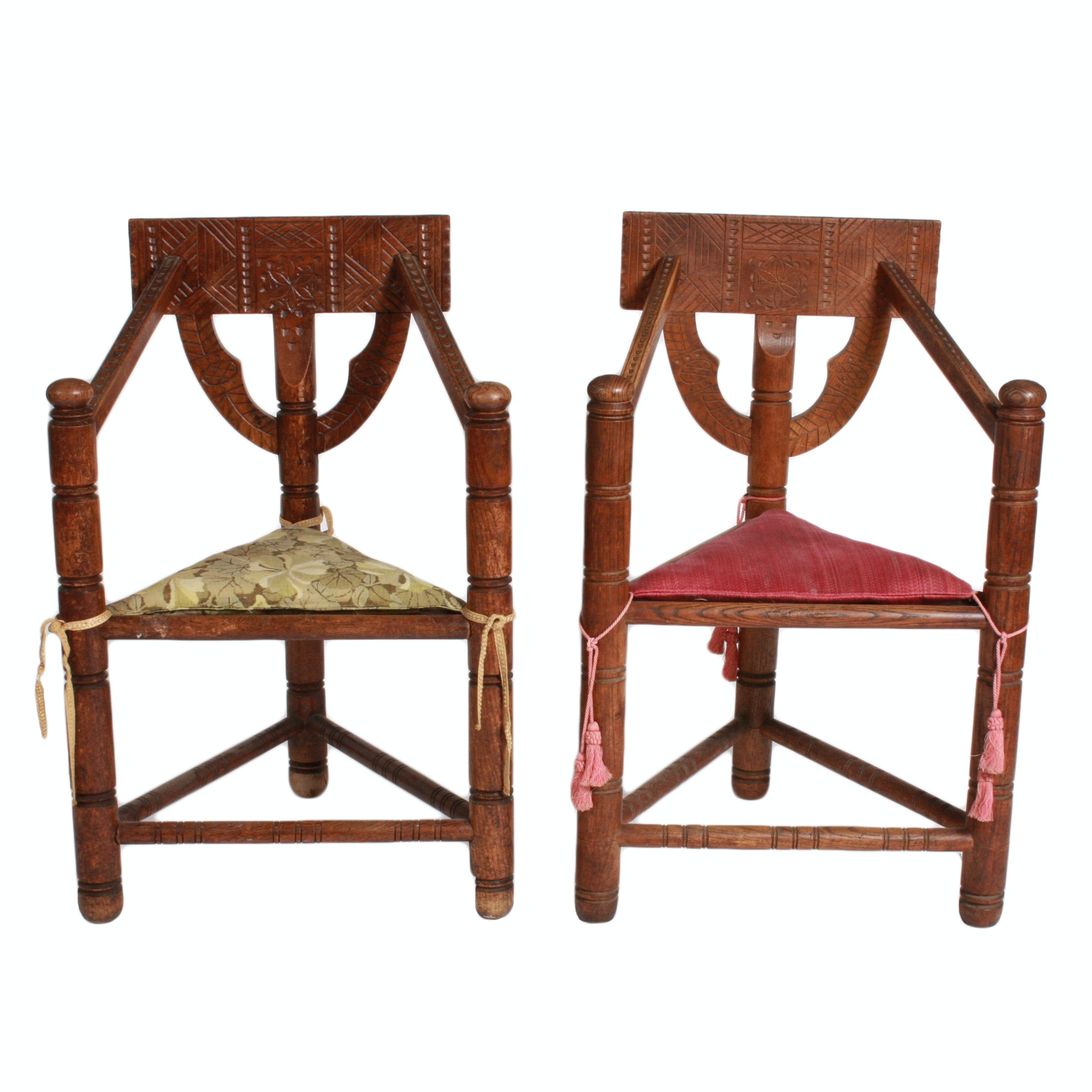 Pair of Swedish Chip-Carved Monk Chairs