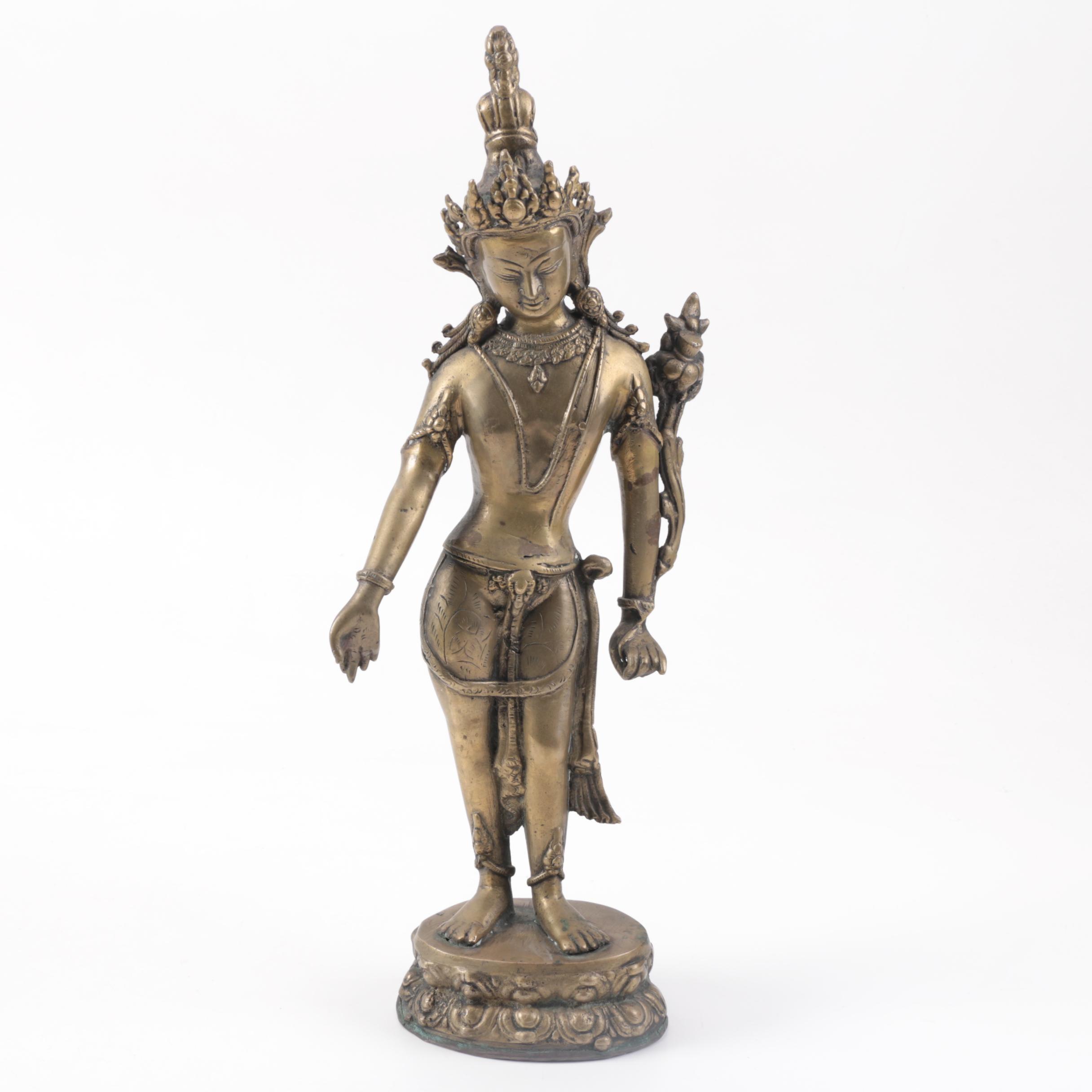 Tibetan Brass Avalokiteshvara Statue