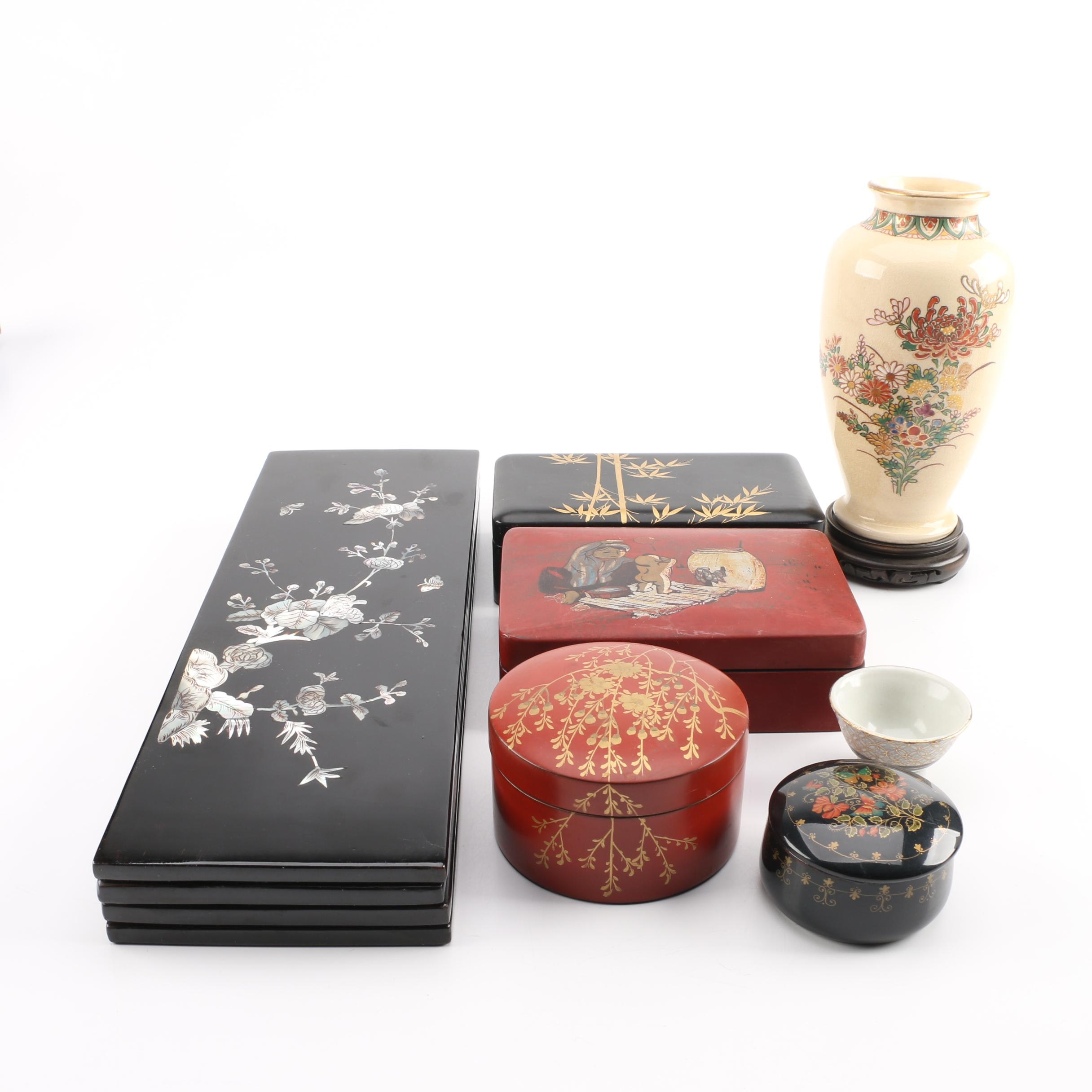 Chinese Tabletop Screen, Vase, Lacquer Ware Plates and Others