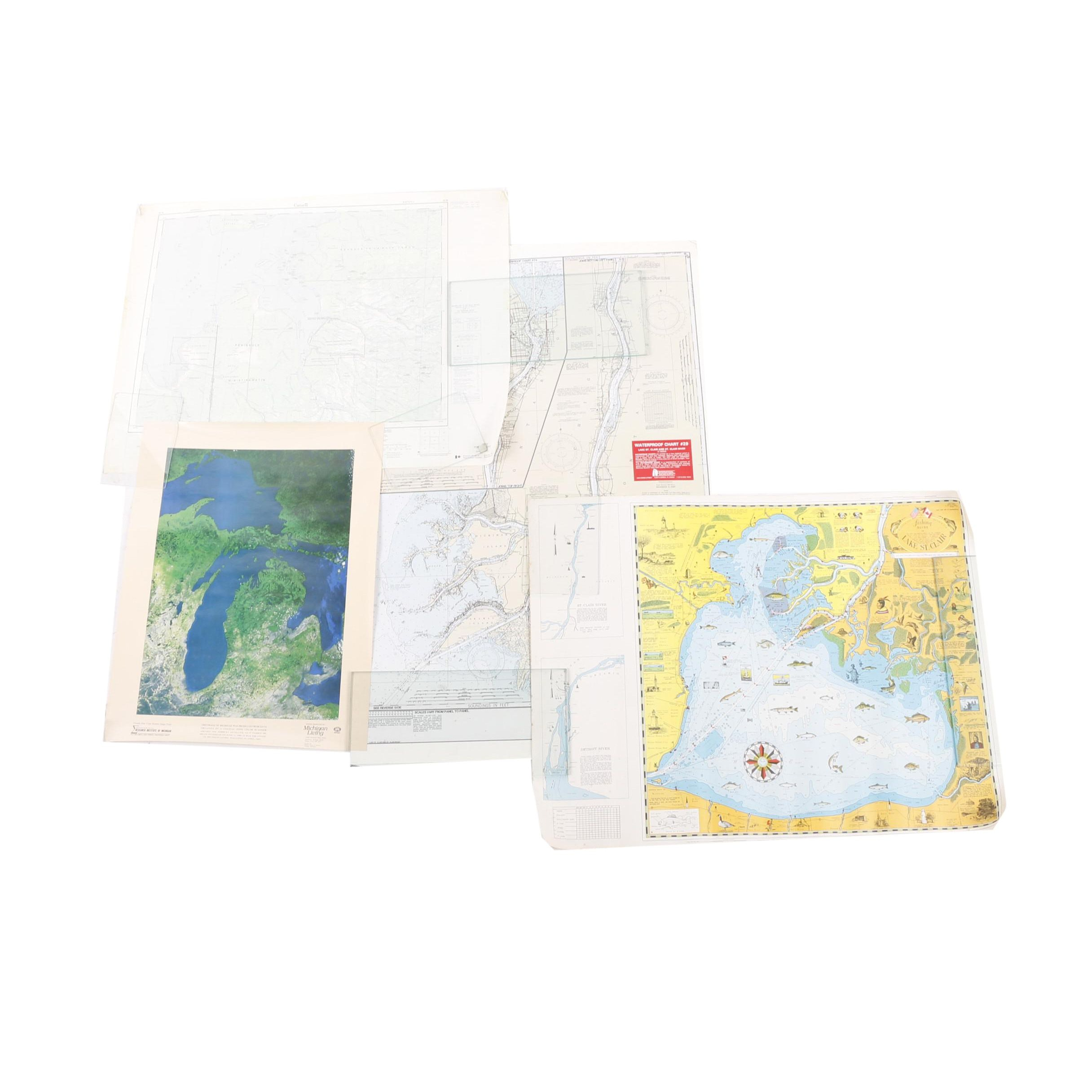 1980s Michigan and Quebec Maps Including Waterproof Chart of Lake St. Clair