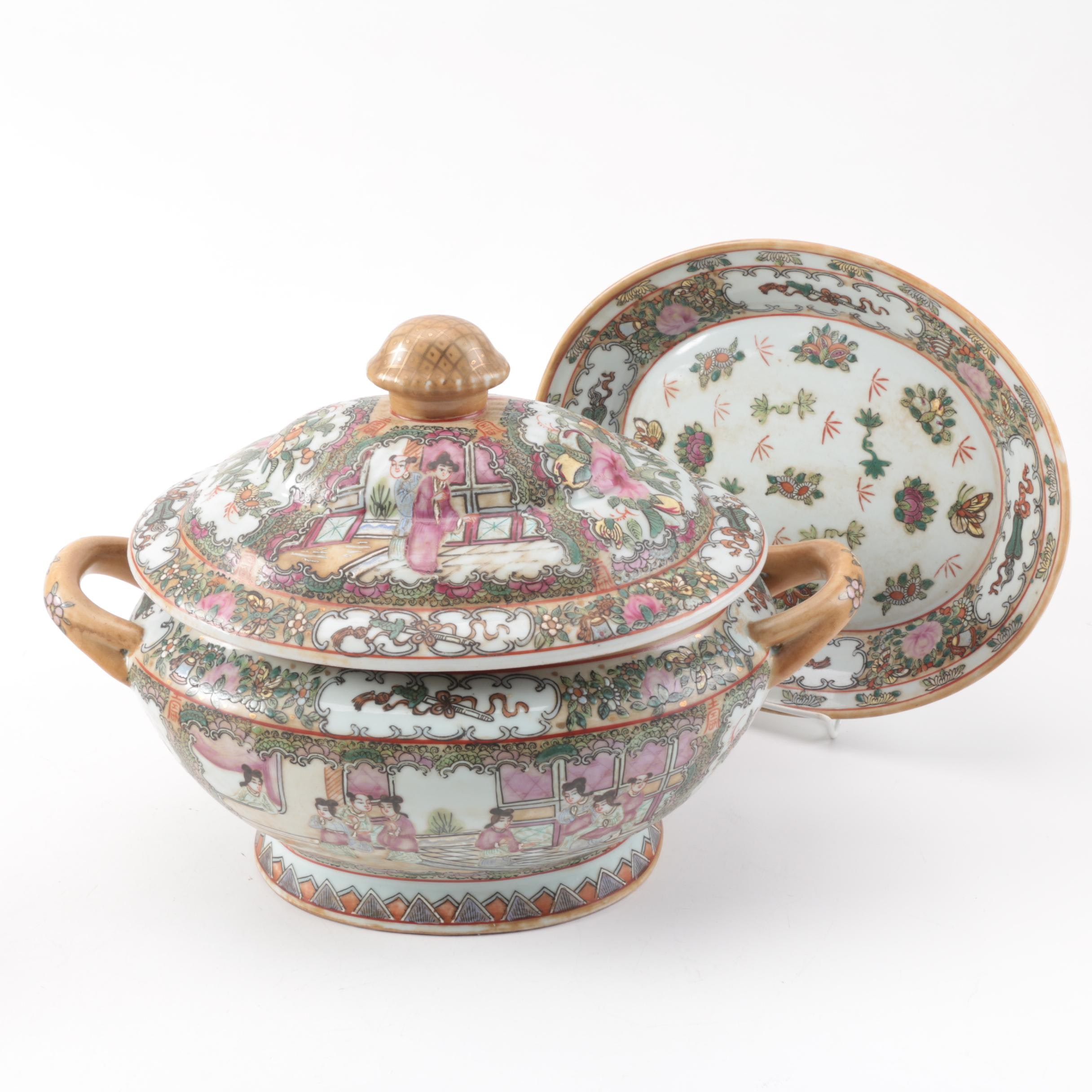 "Contemporary ""Rose Medallion"" Tureen and Platter"