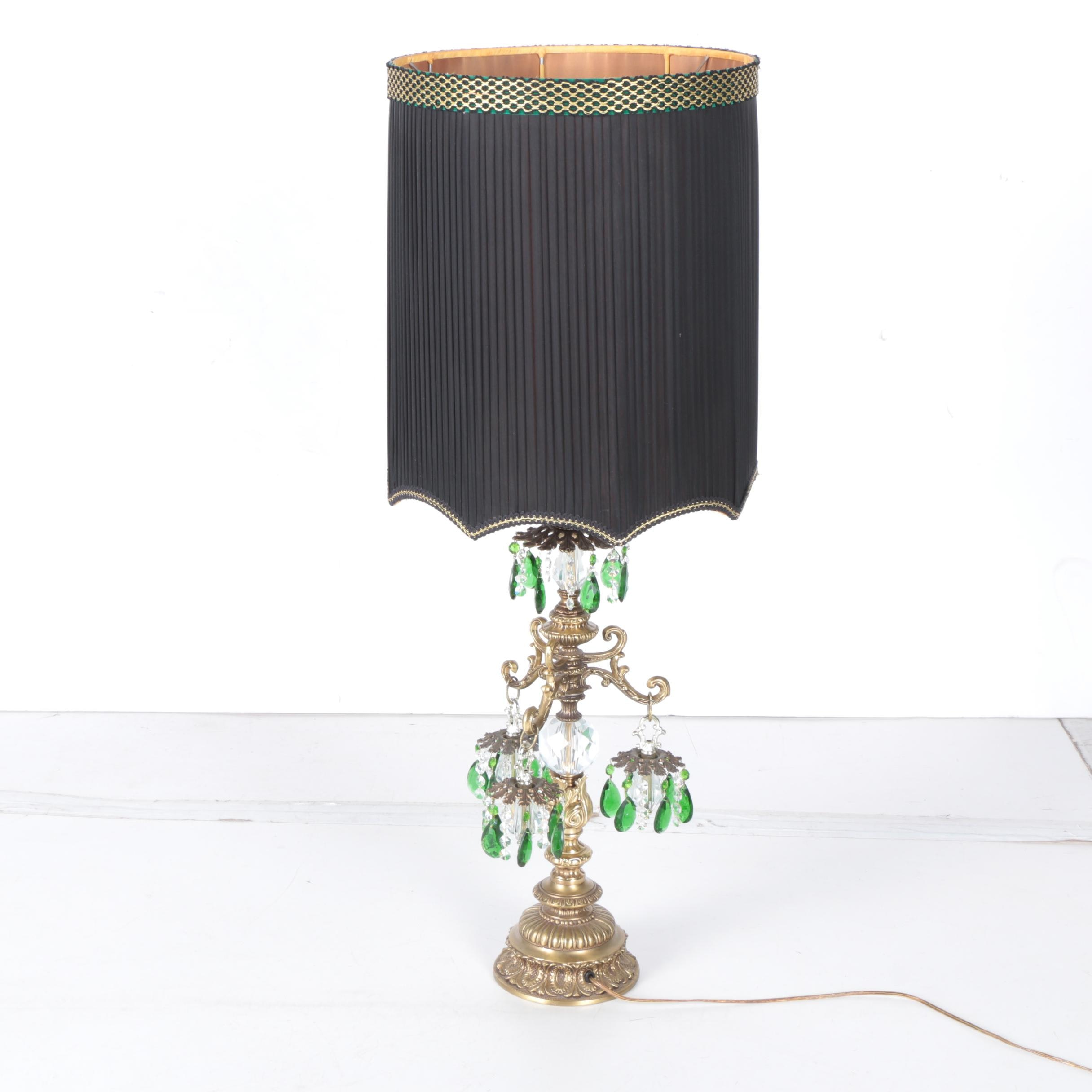 Vintage Brass Scroll Luster Table Lamp