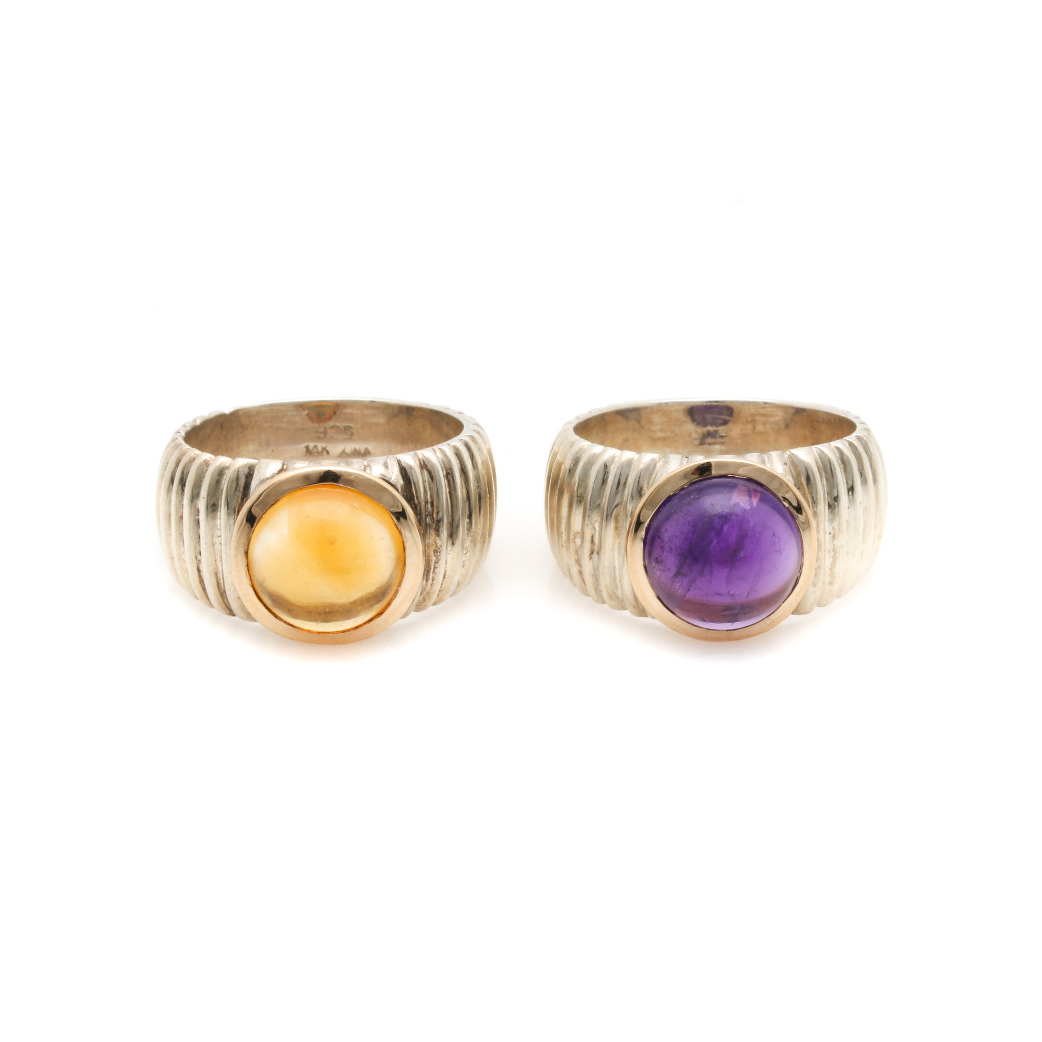 Sterling Silver Amethyst and Citrine Rings With 14K Yellow Gold Accents