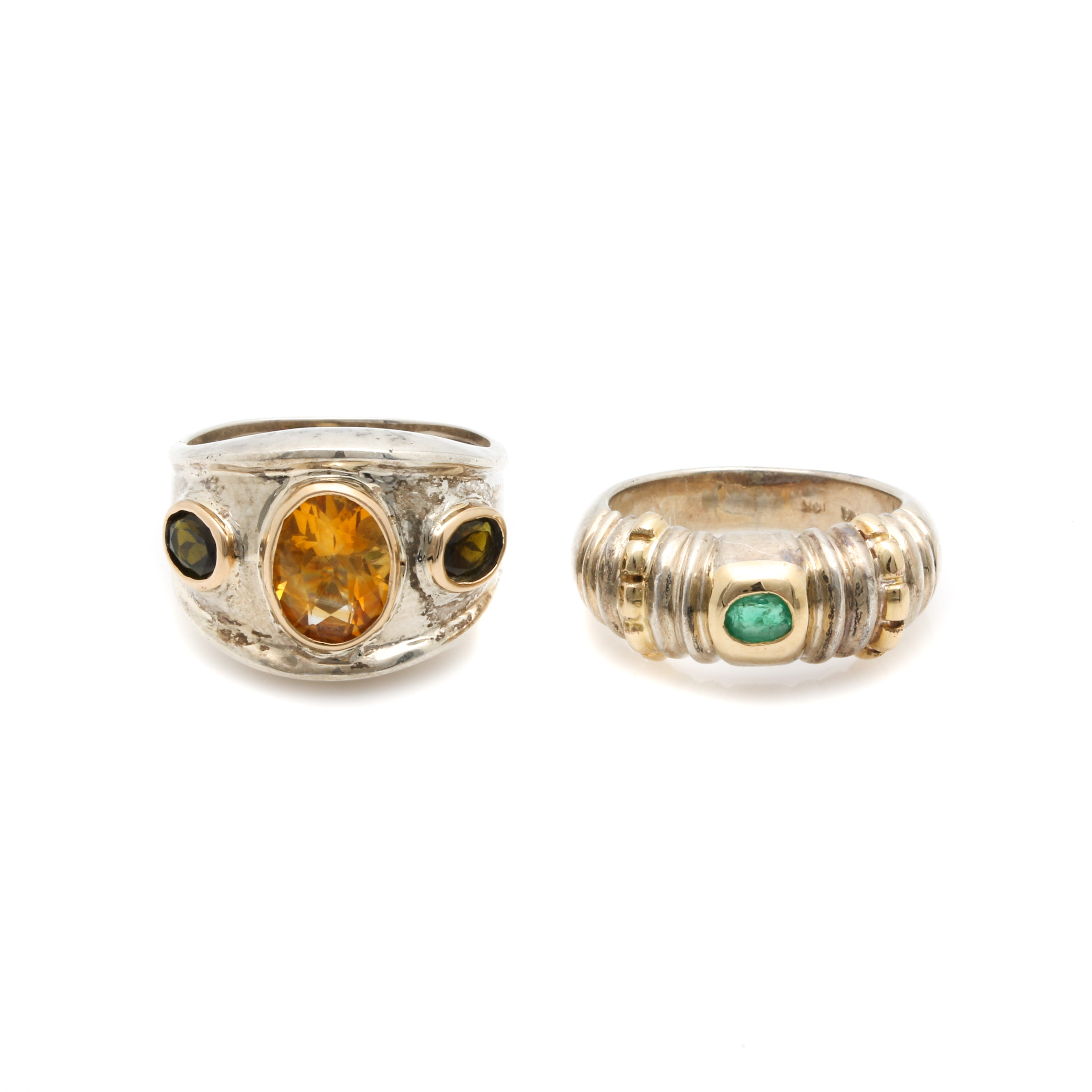 Sterling Silver Citrine, Emerald and Tourmaline Rings with Gold Accents