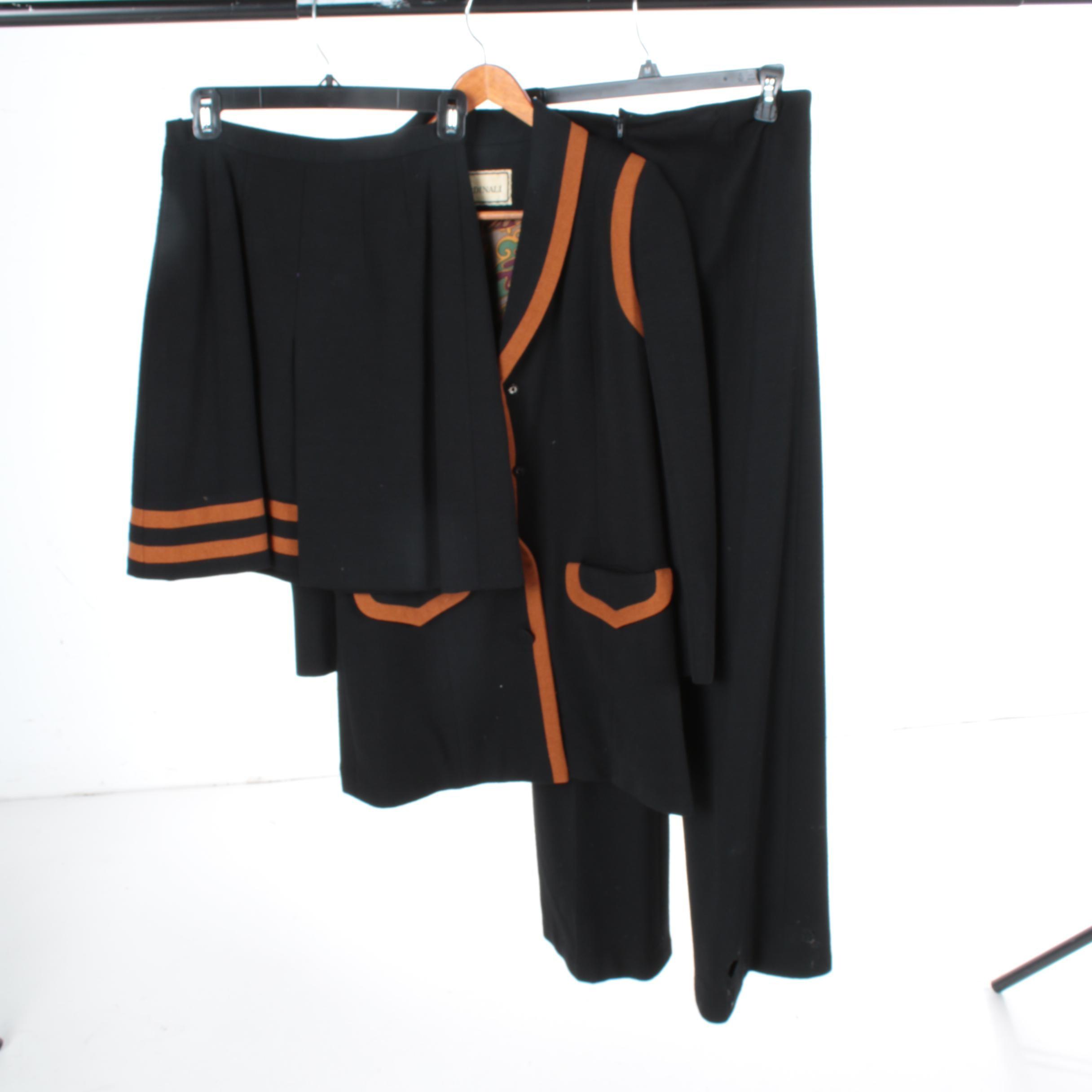 Cardinali Sample Black Wool Three Piece Ensemble